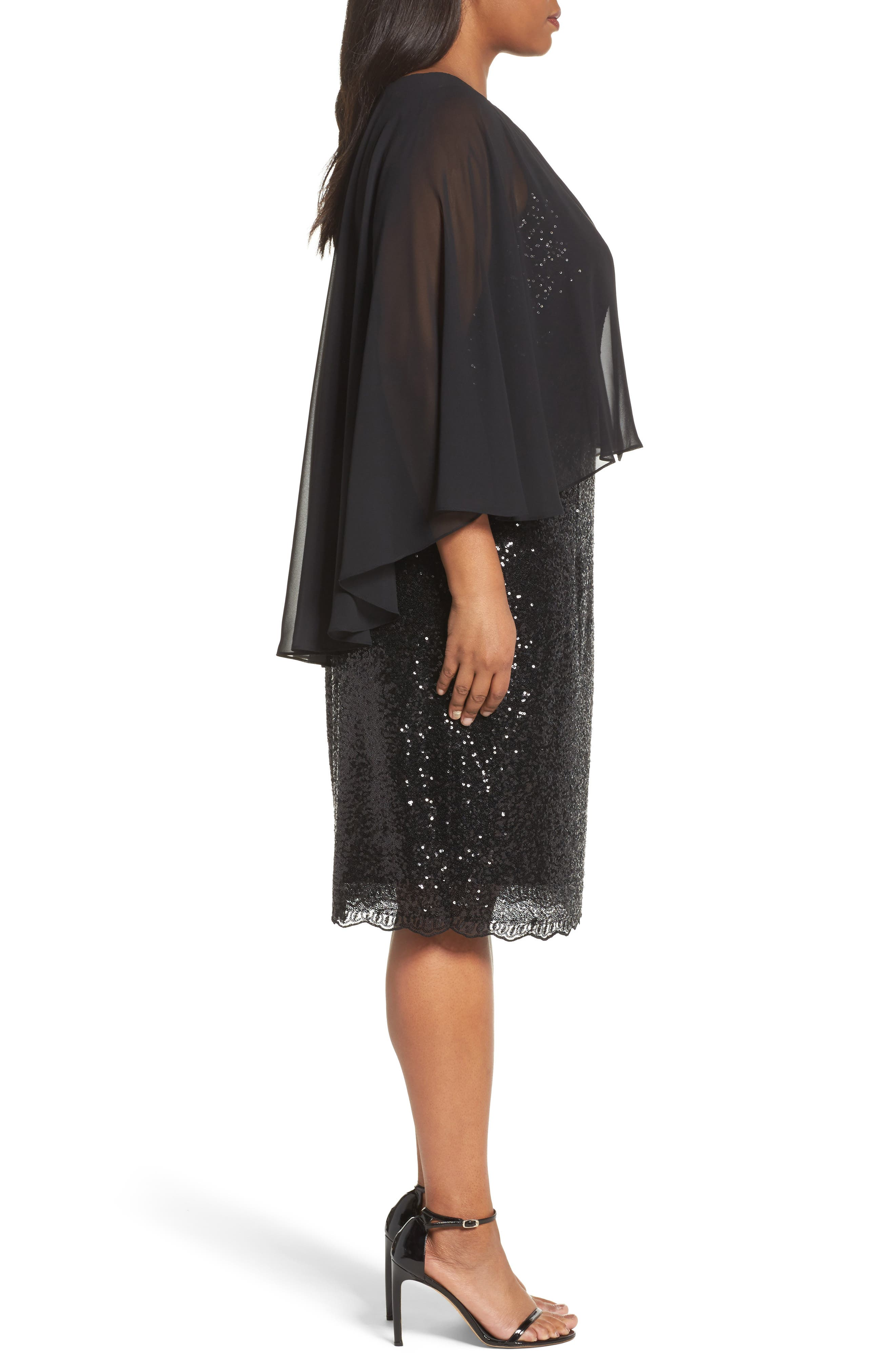 Alternate Image 3  - Alex Evenings Capelet Sequin Shift Dress (Plus Size)