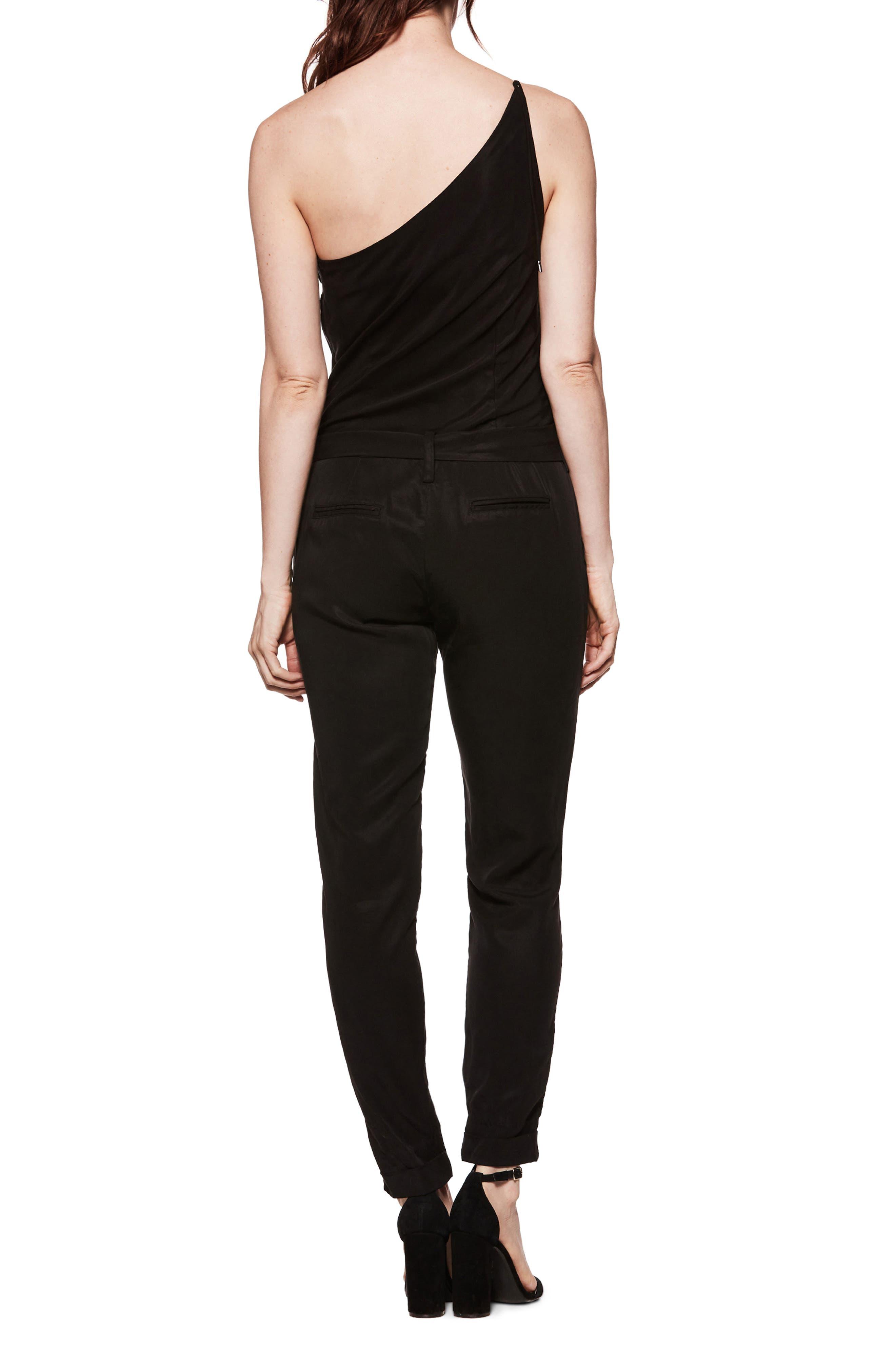 Maise One-Shoulder Jumpsuit,                             Alternate thumbnail 2, color,                             Black