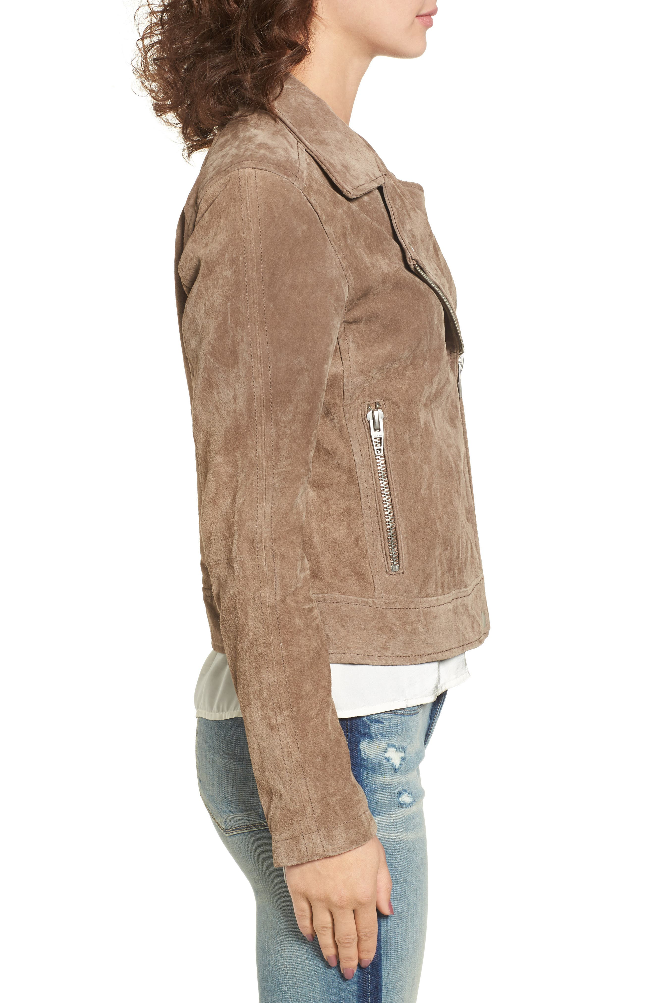 Suede Moto Jacket,                             Alternate thumbnail 3, color,                             Midnight Toker