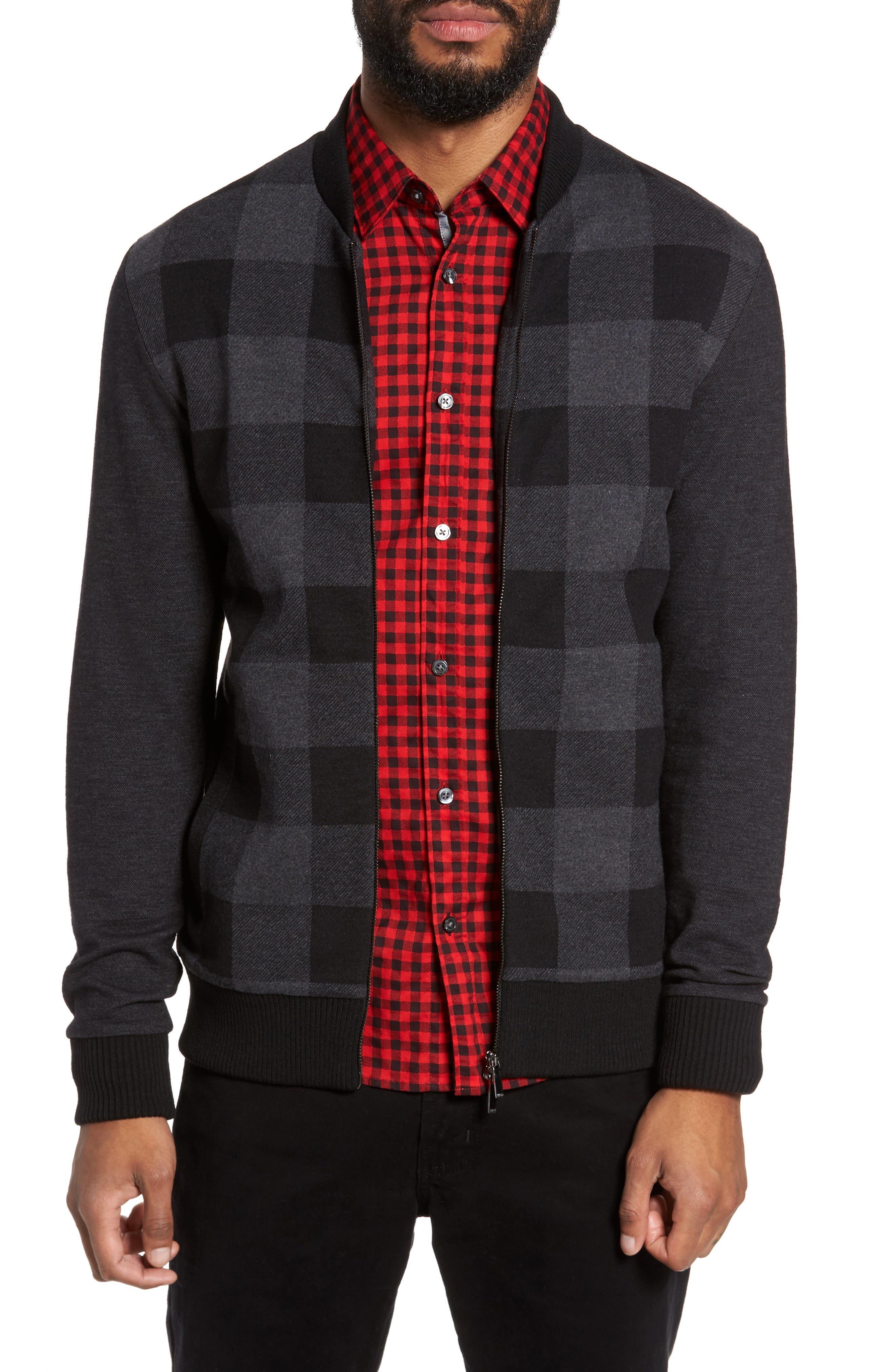 Salea Check Wool Blend Bomber Jacket,                         Main,                         color, Black