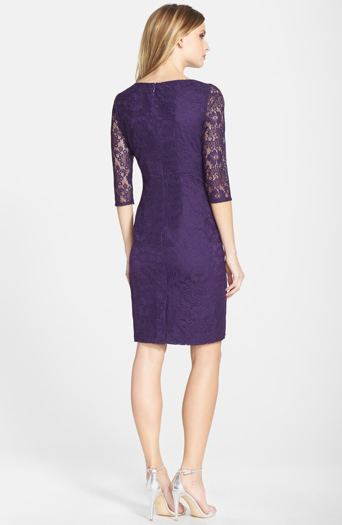 Alternate Image 2  - Adrianna Papell Rosette Side Lace Dress