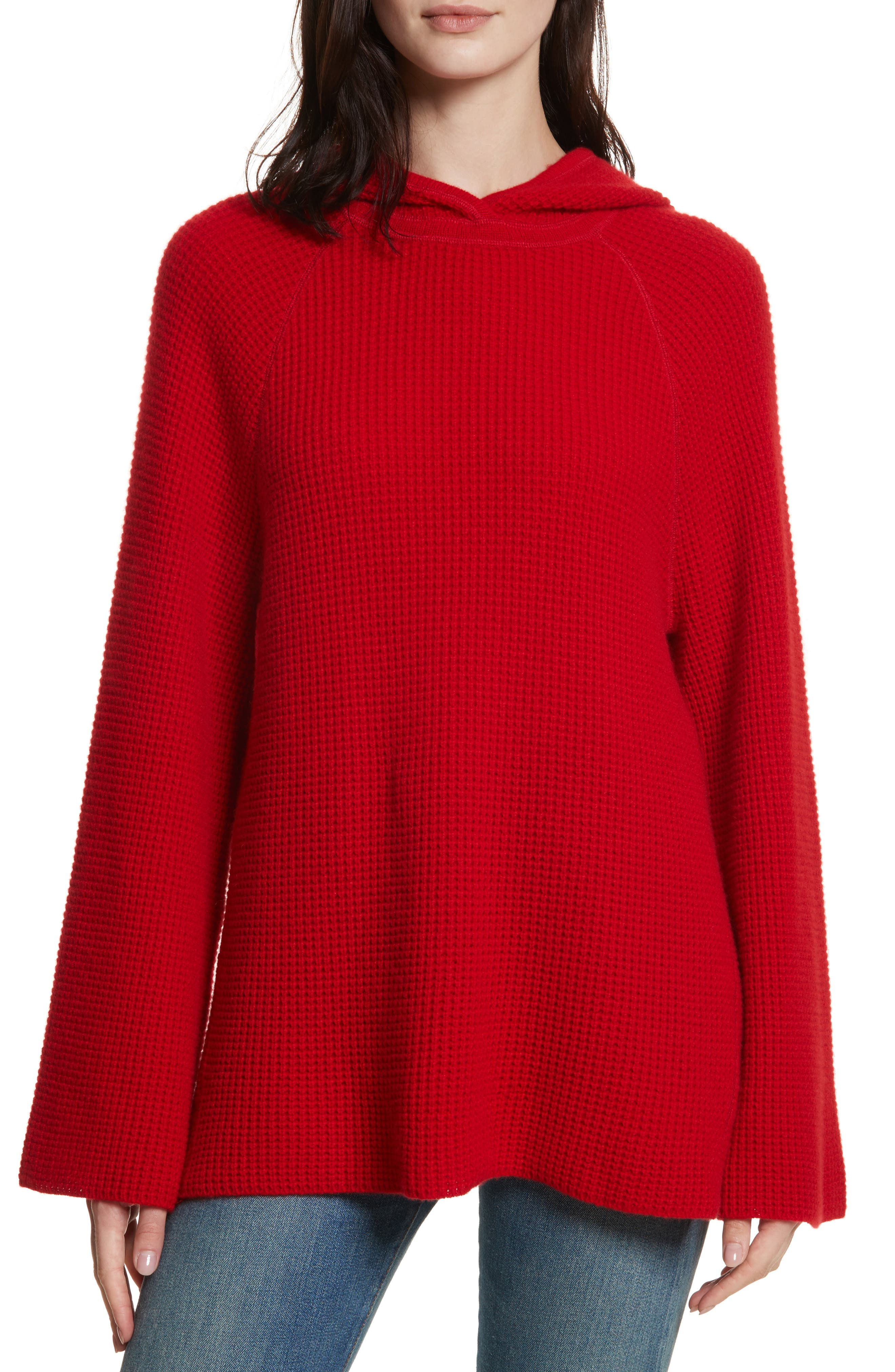 Tristan Thermal Cashmere Hoodie,                         Main,                         color, Bright Red