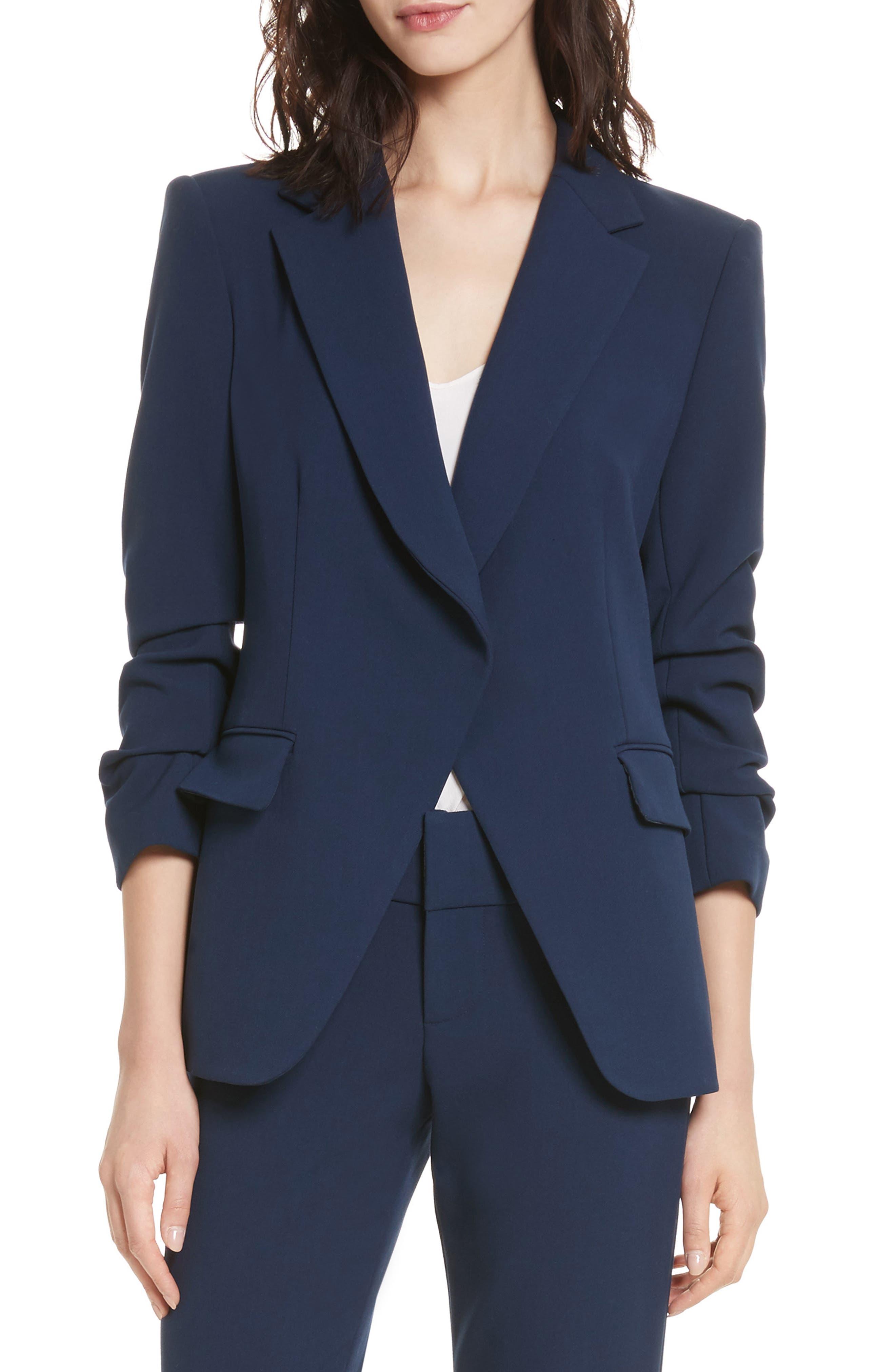 Helena Scrunched Sleeve Blazer,                         Main,                         color, Sapphire