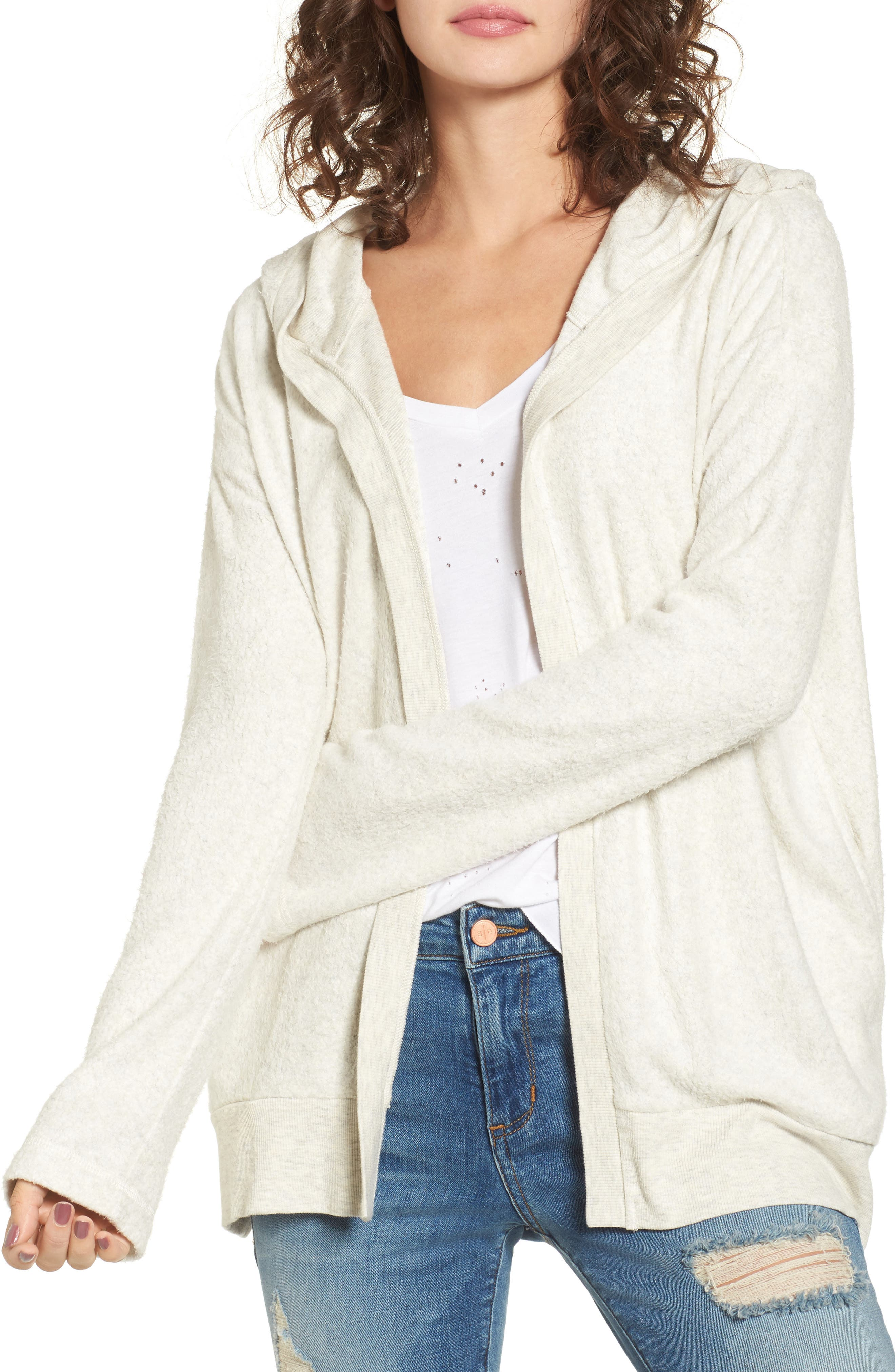 Down in Front Cardigan Hoodie,                         Main,                         color, Ice Athletic Grey