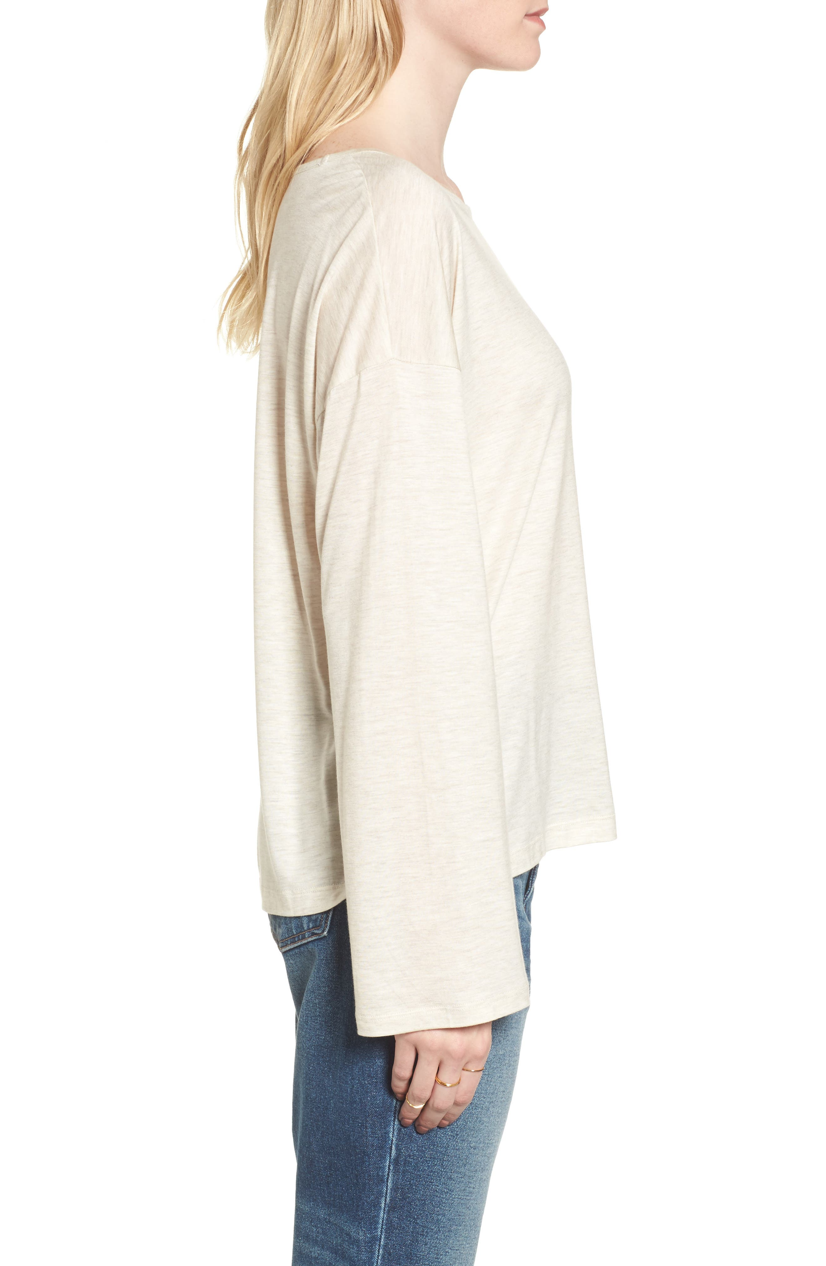 Libretto Wide Sleeve Top,                             Alternate thumbnail 3, color,                             Heather Dune