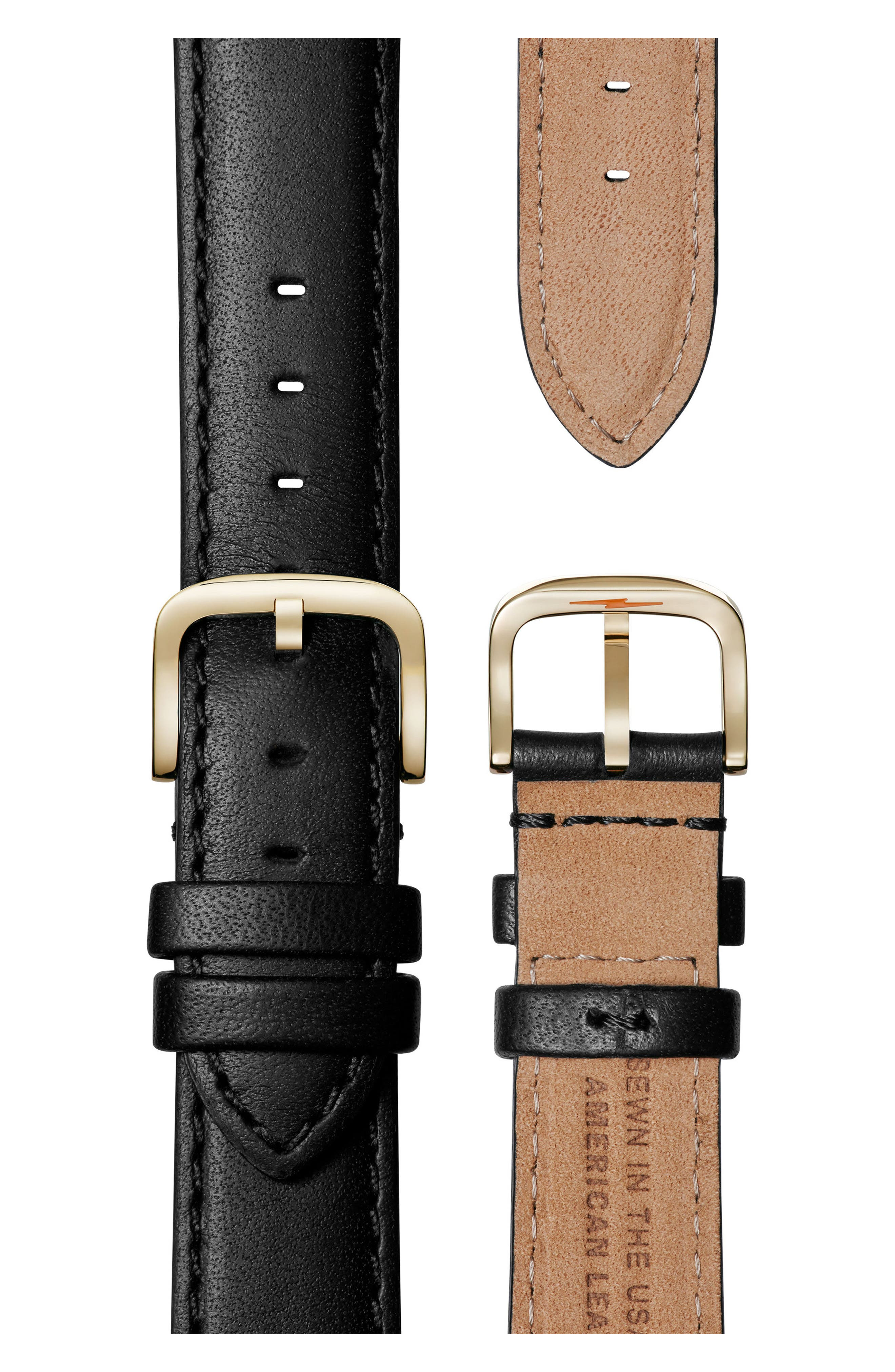 Alternate Image 4  - Shinola The Muldowney Rectangular Leather Strap Watch, 24mm x 35mm