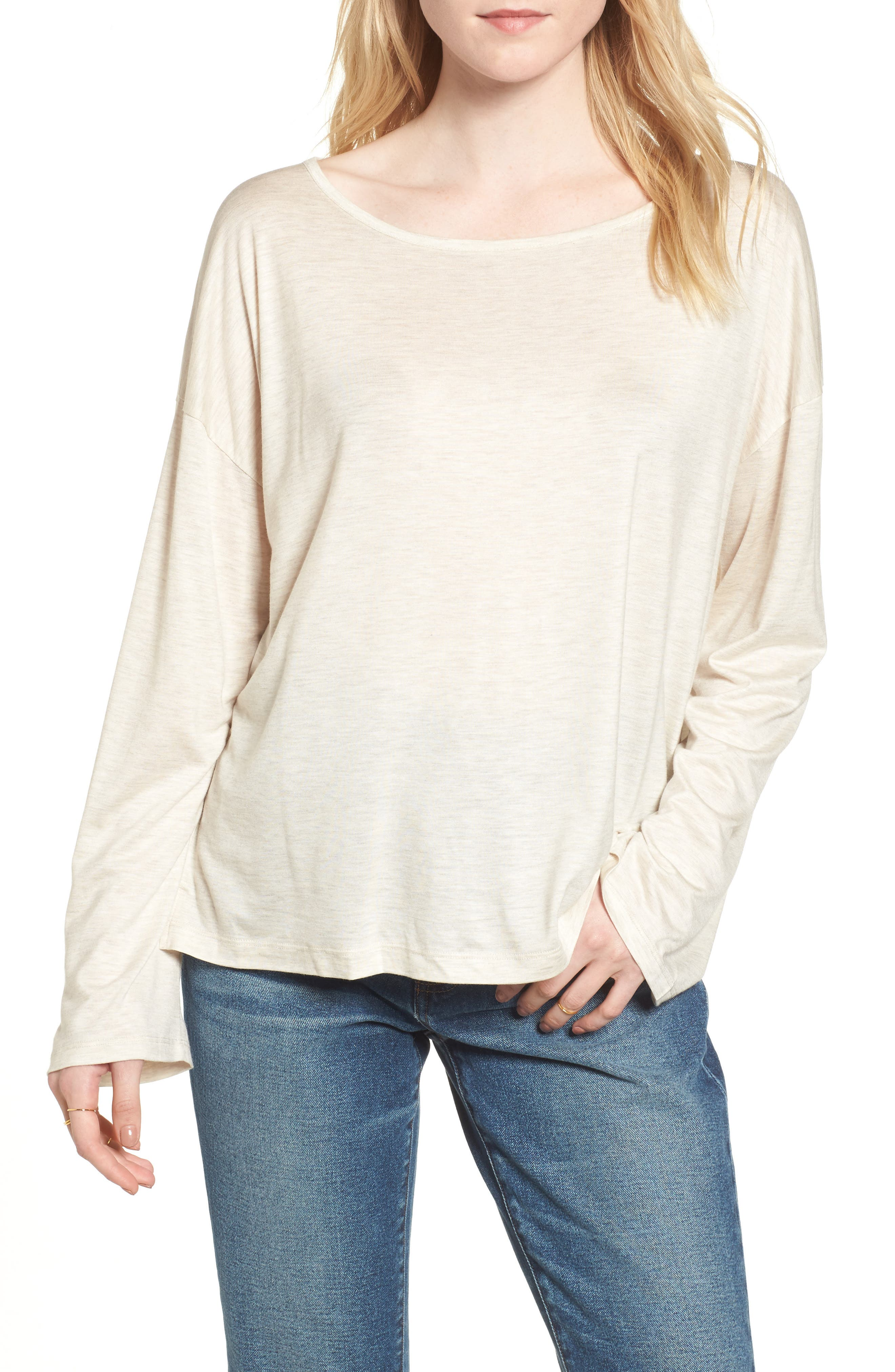 Libretto Wide Sleeve Top,                             Main thumbnail 1, color,                             Heather Dune
