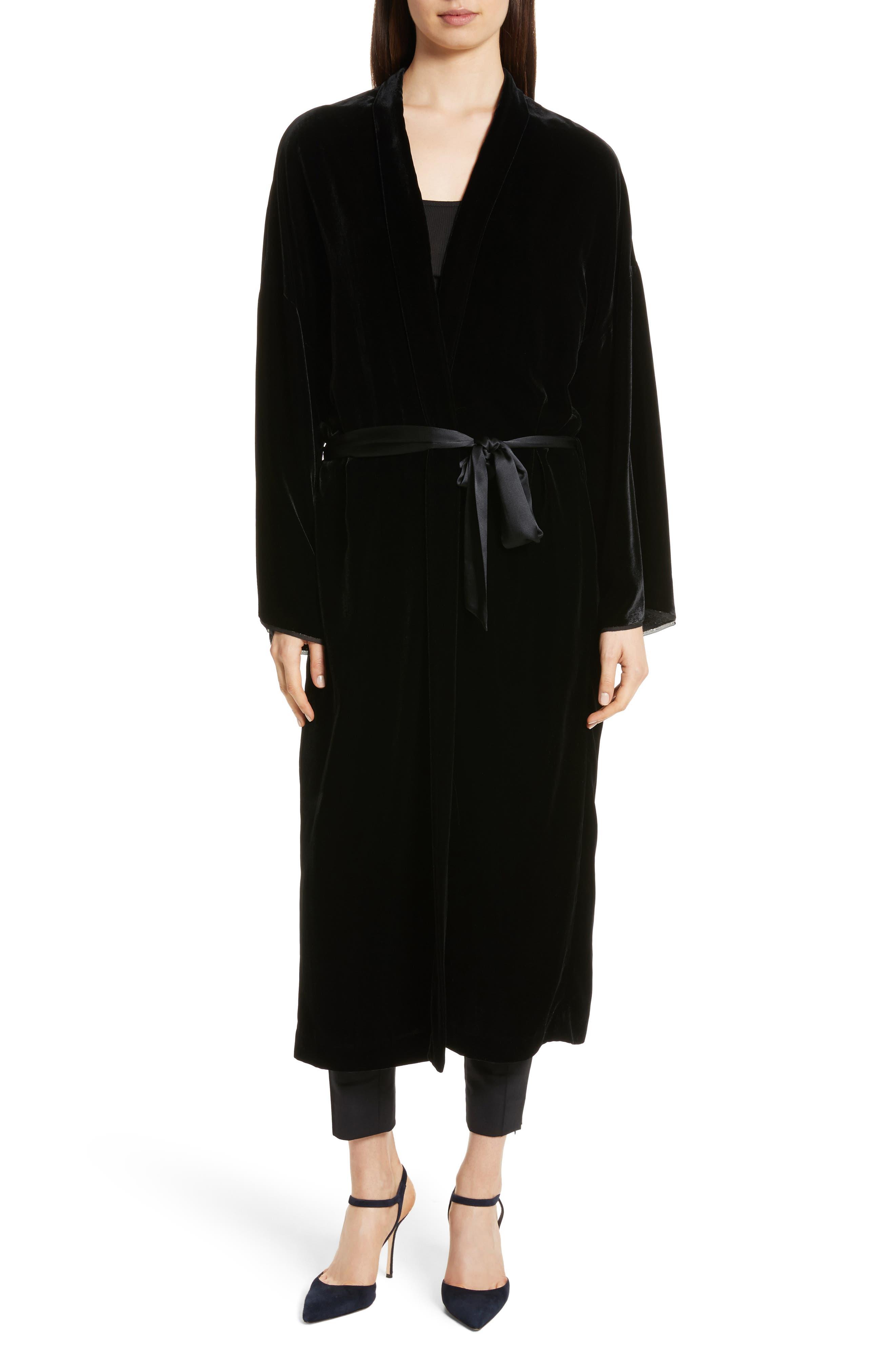 Muna Velvet Kimono,                             Main thumbnail 1, color,                             Black
