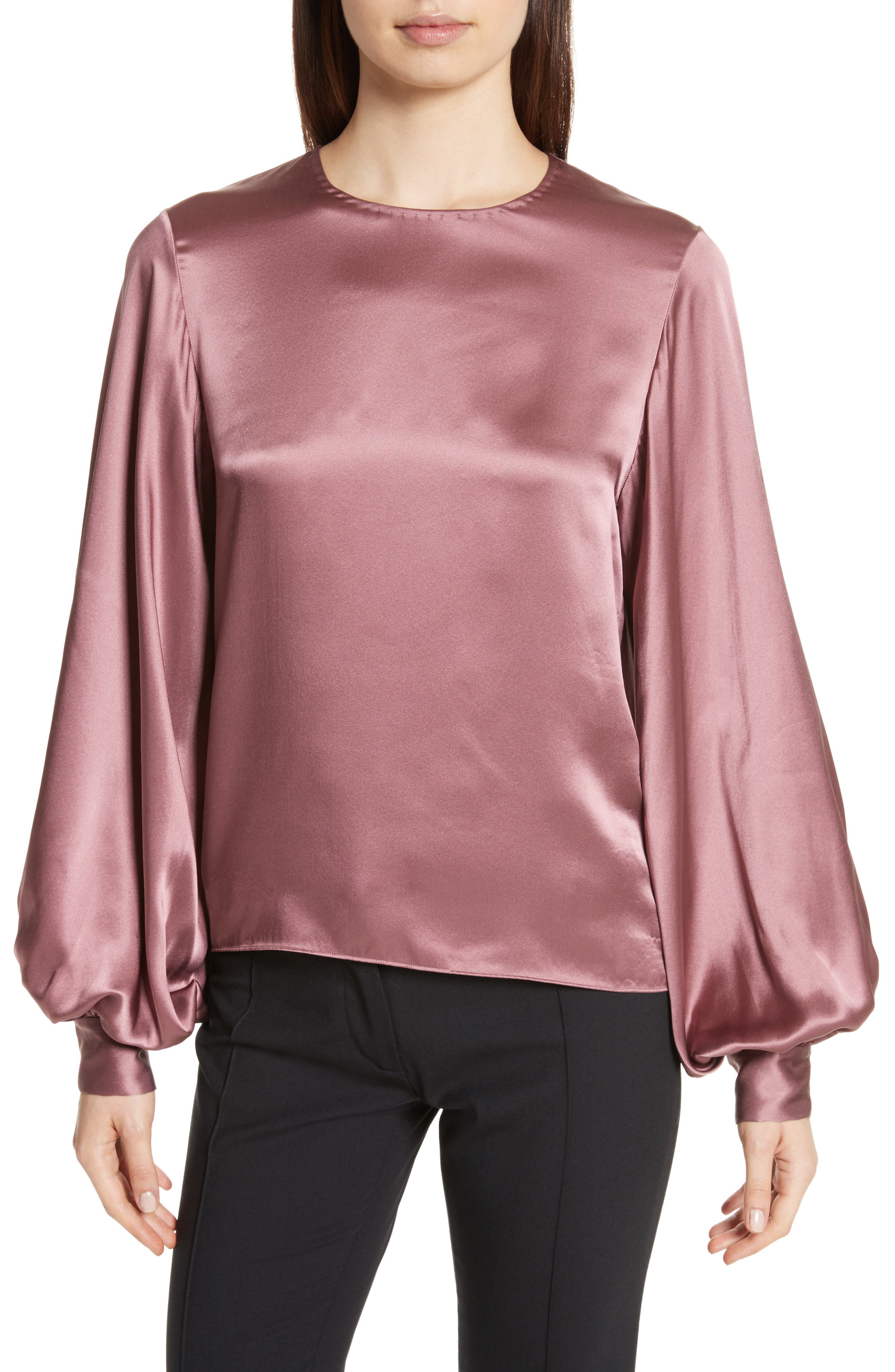 Loretta Silk Puff Sleeve Blouse,                         Main,                         color, Dusty Rose