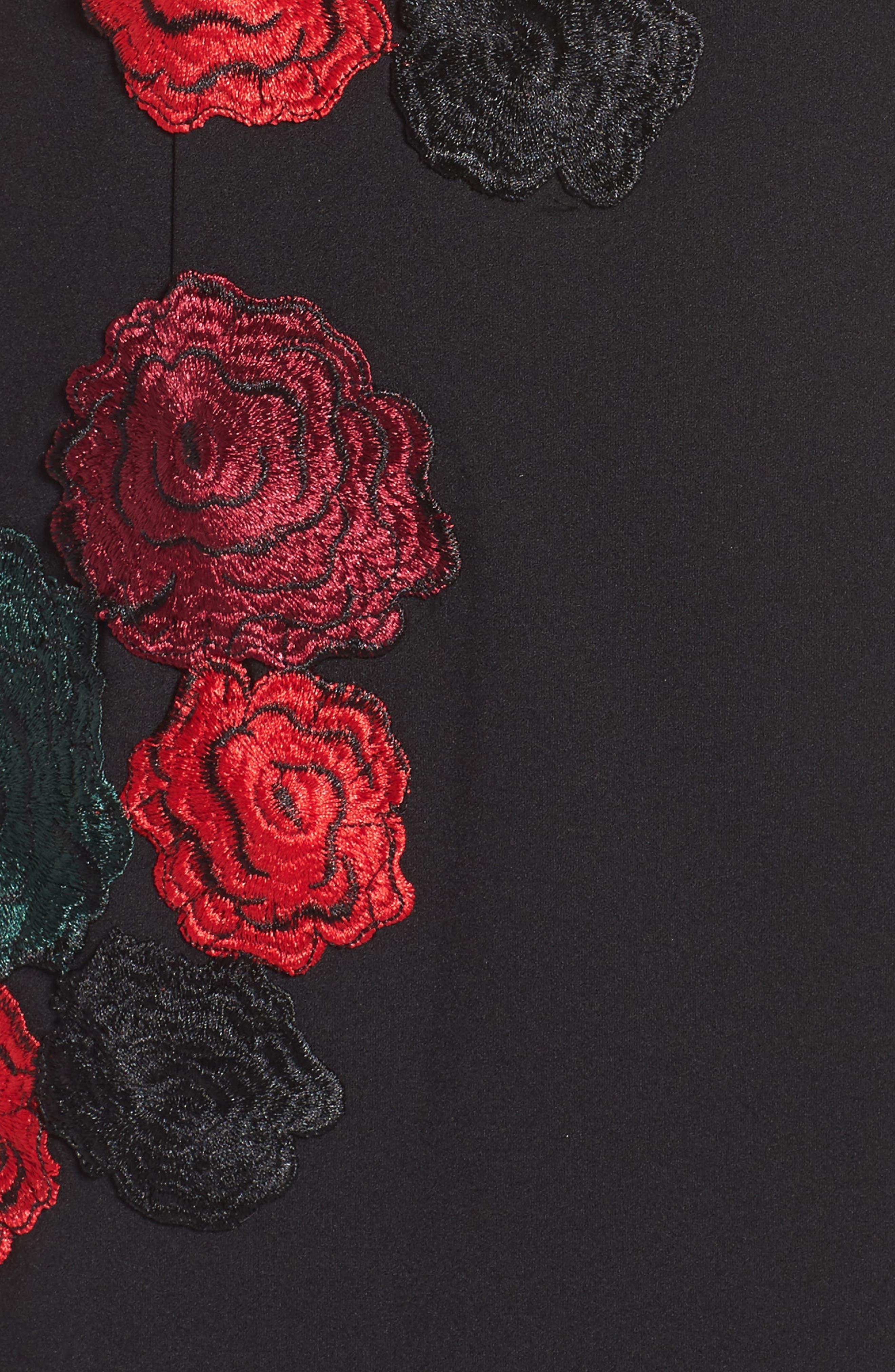 Floral Midi Dress,                             Alternate thumbnail 5, color,                             Black