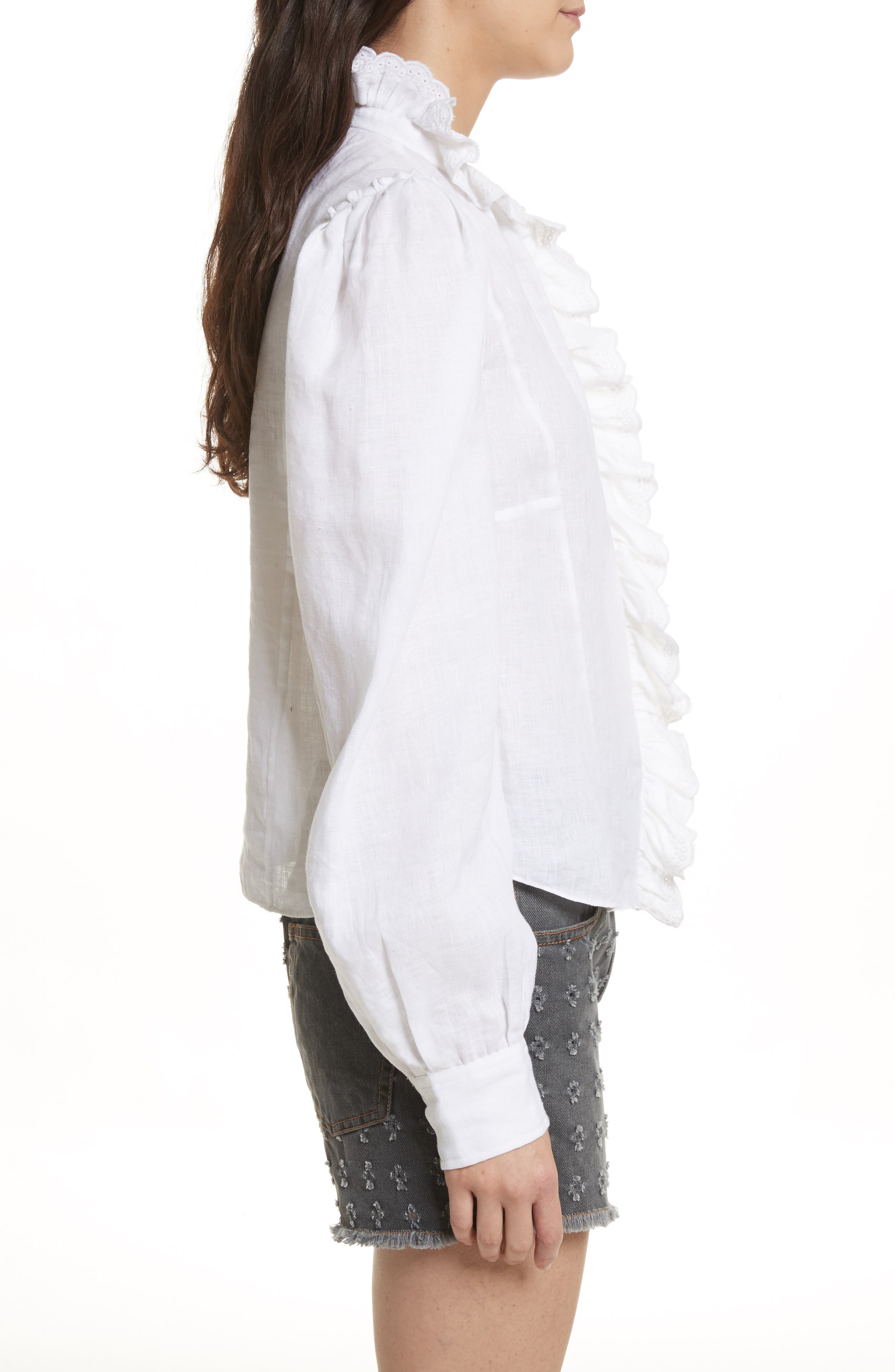 Isabel Marant Étoile Tauren Broderie Linen Shirt,                             Alternate thumbnail 3, color,                             White