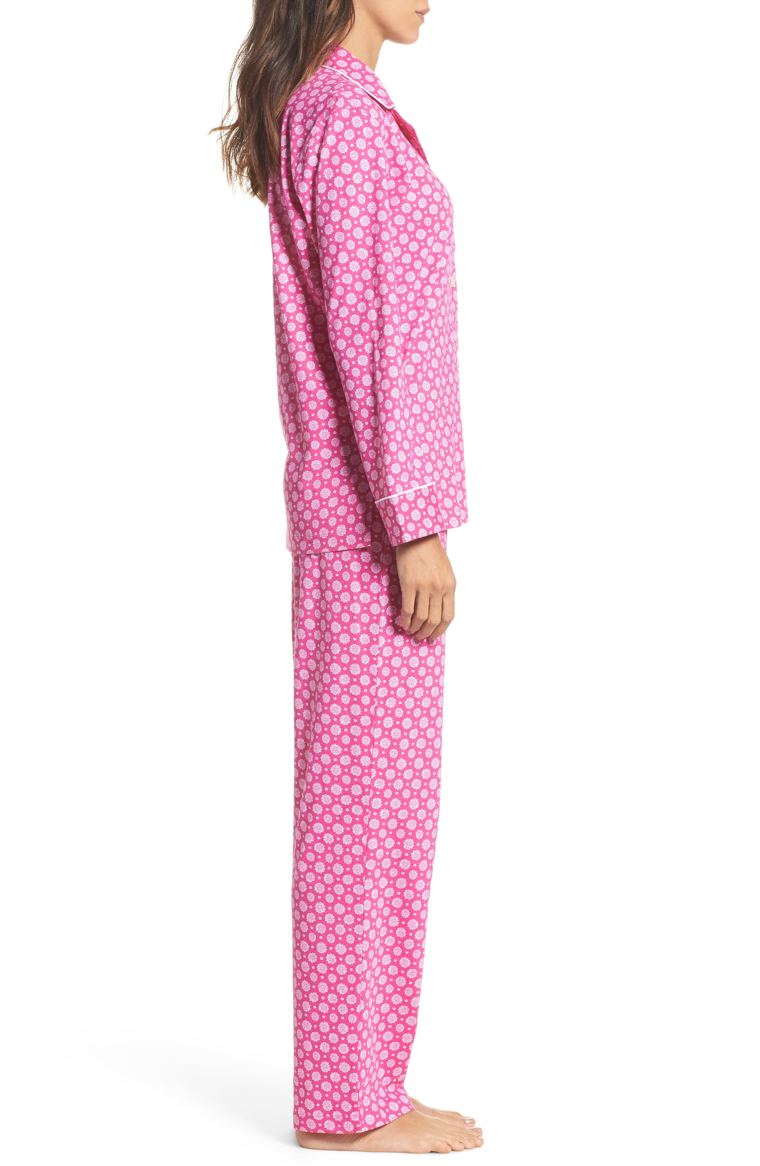 Notch Collar Pajamas,                             Alternate thumbnail 3, color,                             Pink Floral