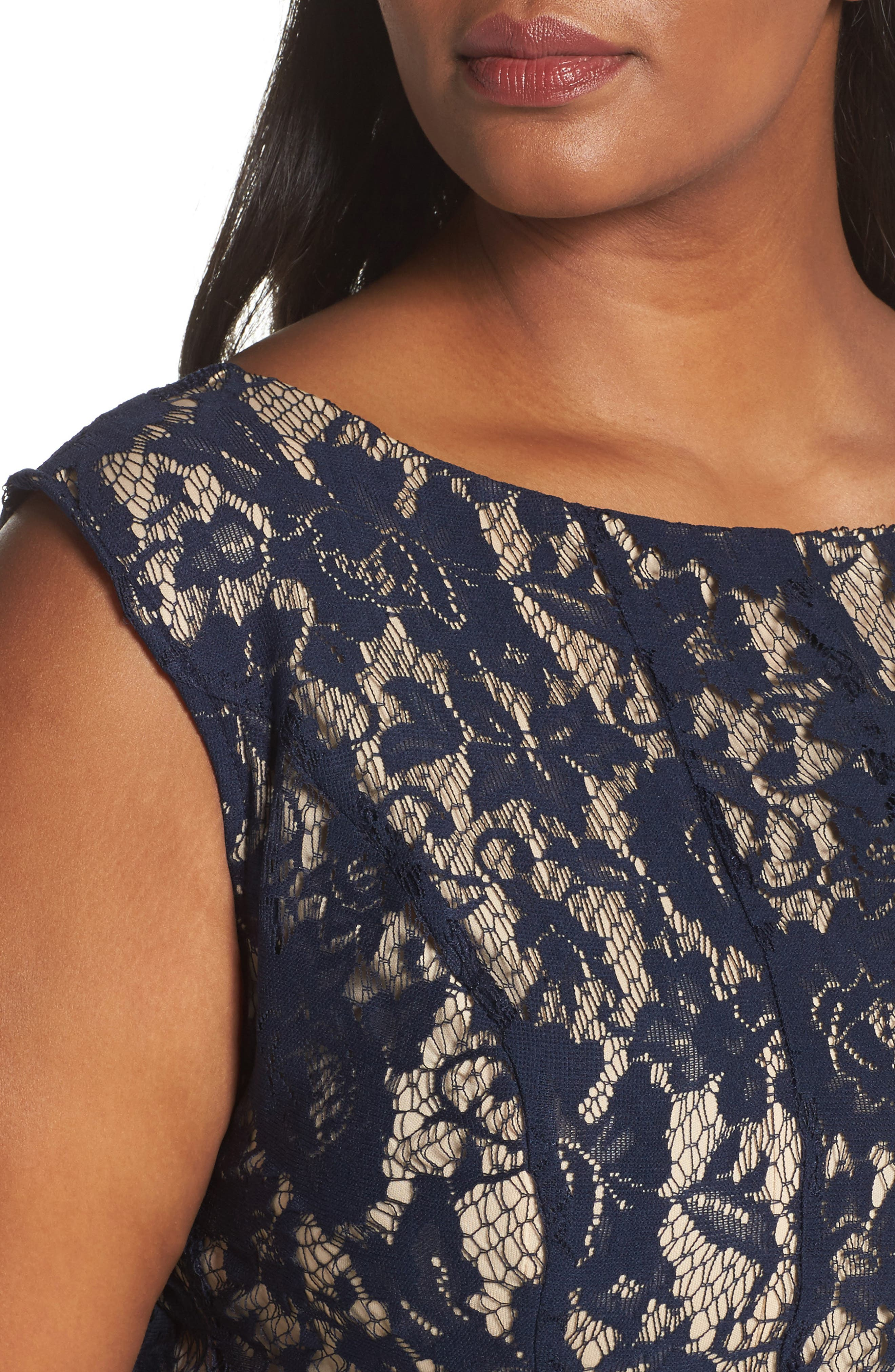 Lace Fit & Flare Dress,                             Alternate thumbnail 4, color,                             Navy/ Nude