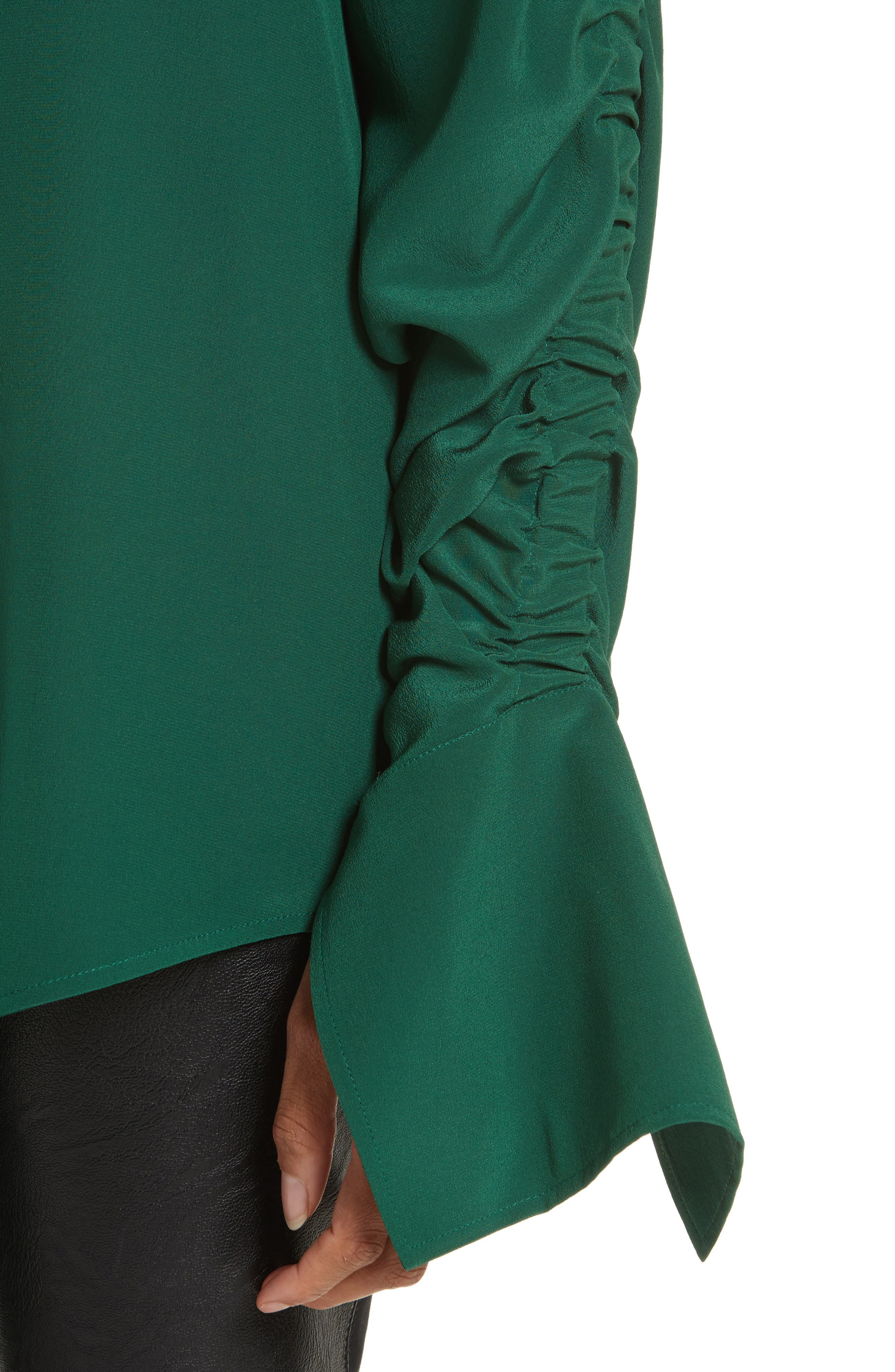 Ruched Flare Cuff Silk Shirt,                             Alternate thumbnail 4, color,                             Leaf Green