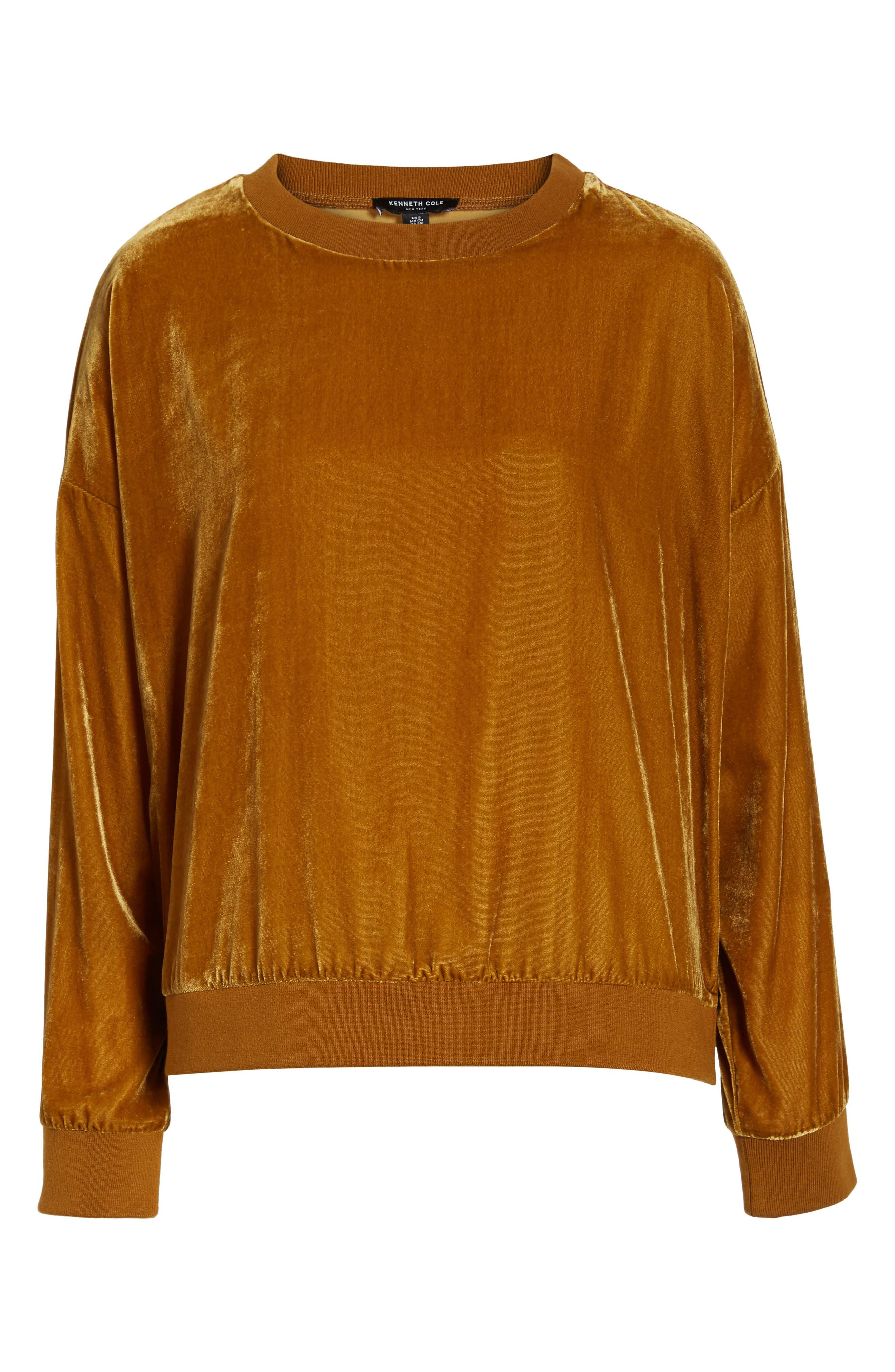 Zipper Velvet Sweatshirt,                         Main,                         color, Gold
