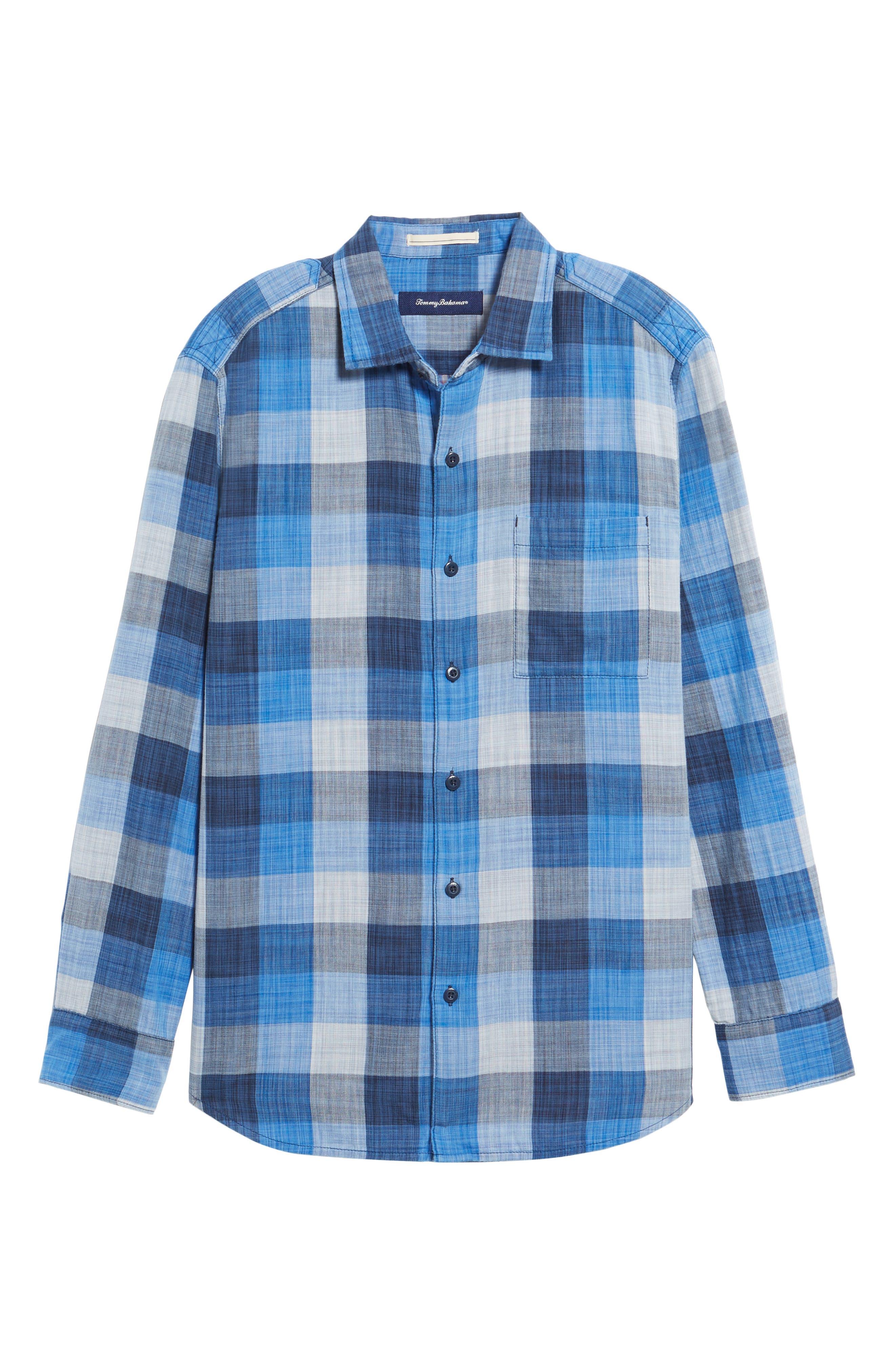 Dual Lux Standard Fit Check Sport Shirt,                             Alternate thumbnail 6, color,                             Bering Blue