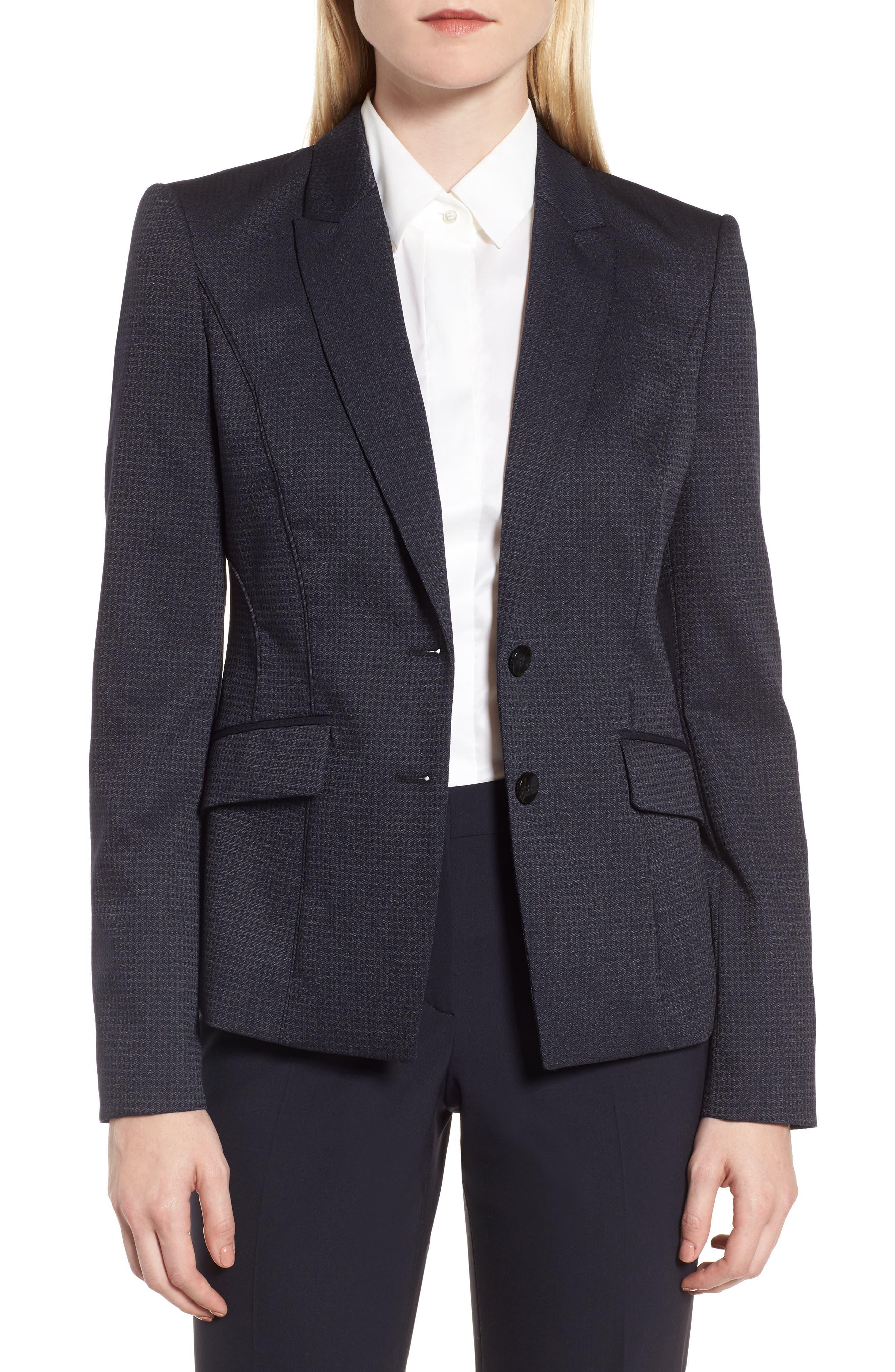 Main Image - BOSS Jukani Check Wool Blend Suit Jacket (Petite)