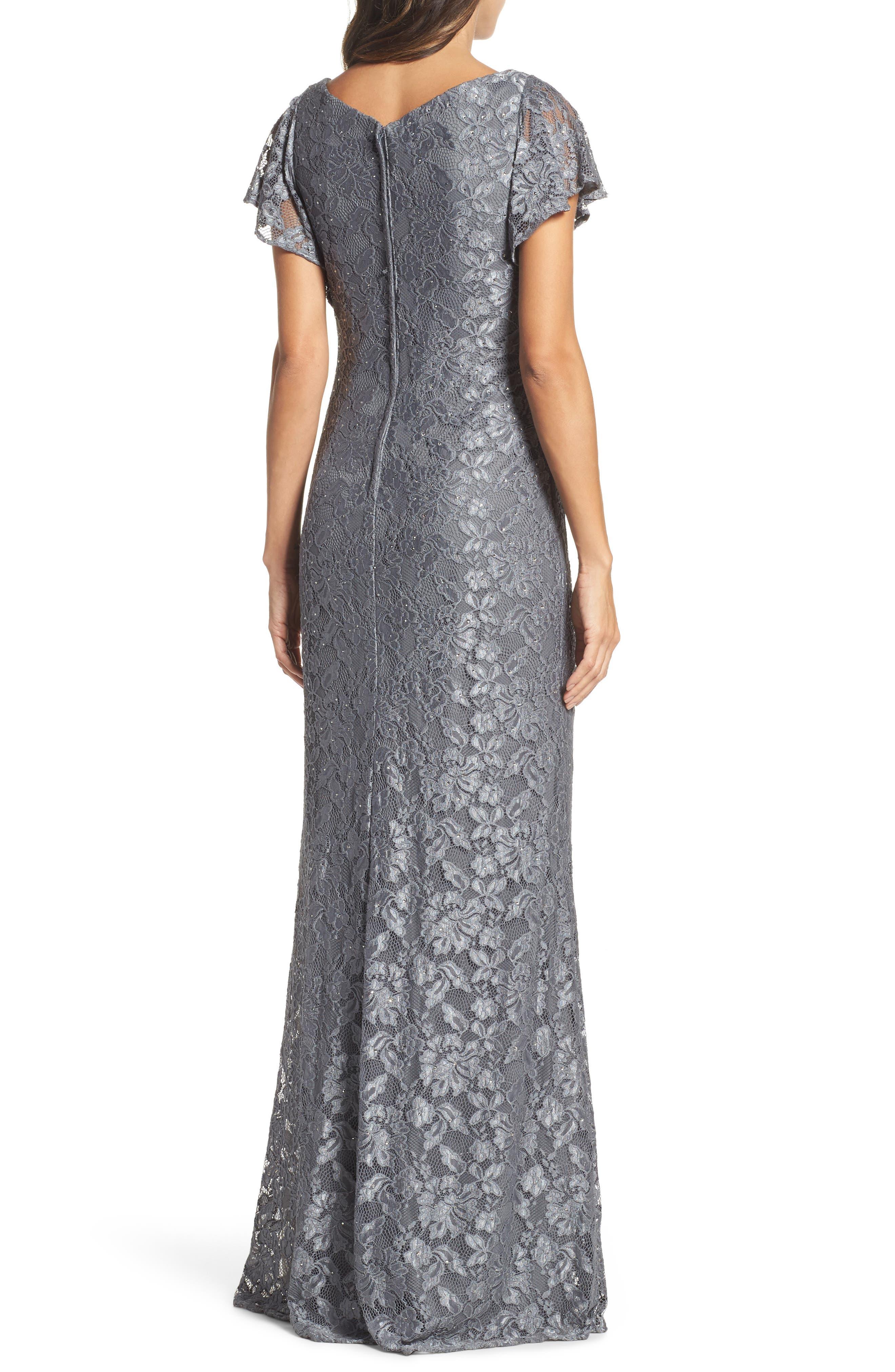 Alternate Image 2  - La Femme Flutter Sleeve Lace Gown