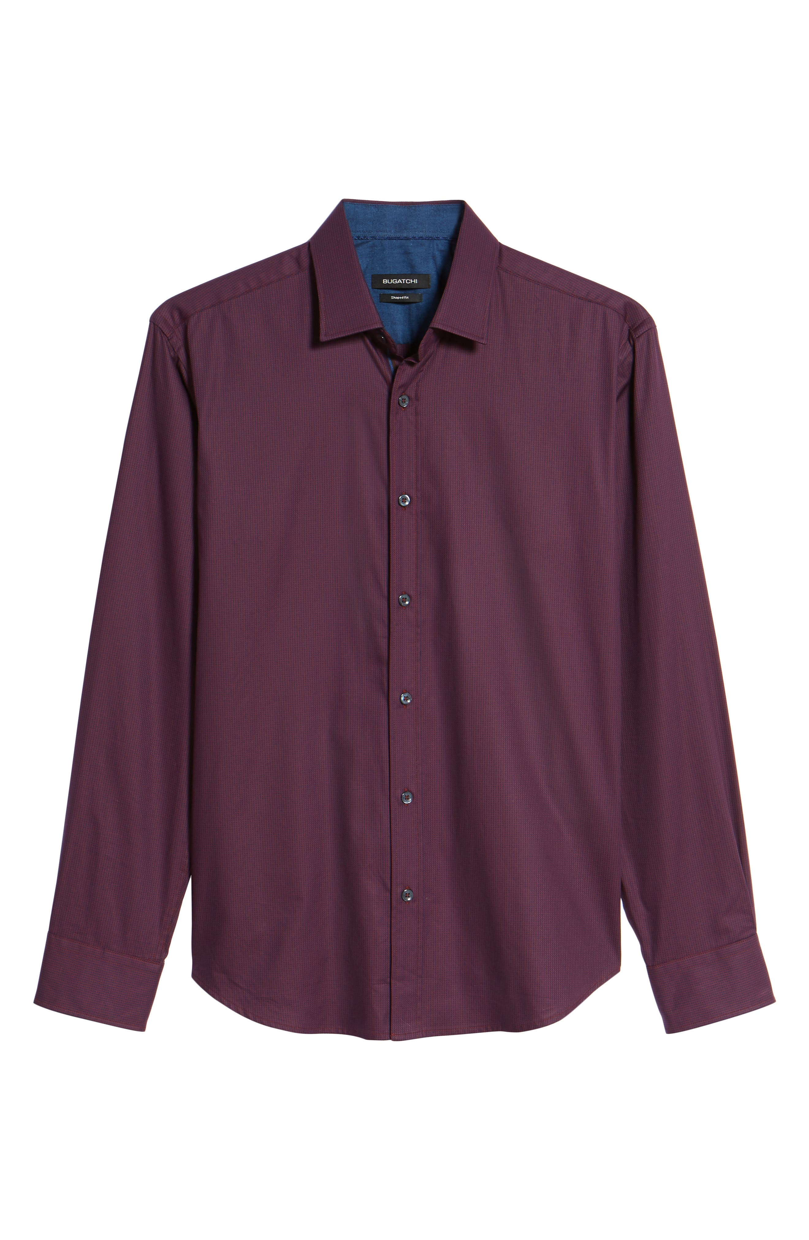 Shaped Fit Sport Shirt,                             Alternate thumbnail 7, color,                             Wine