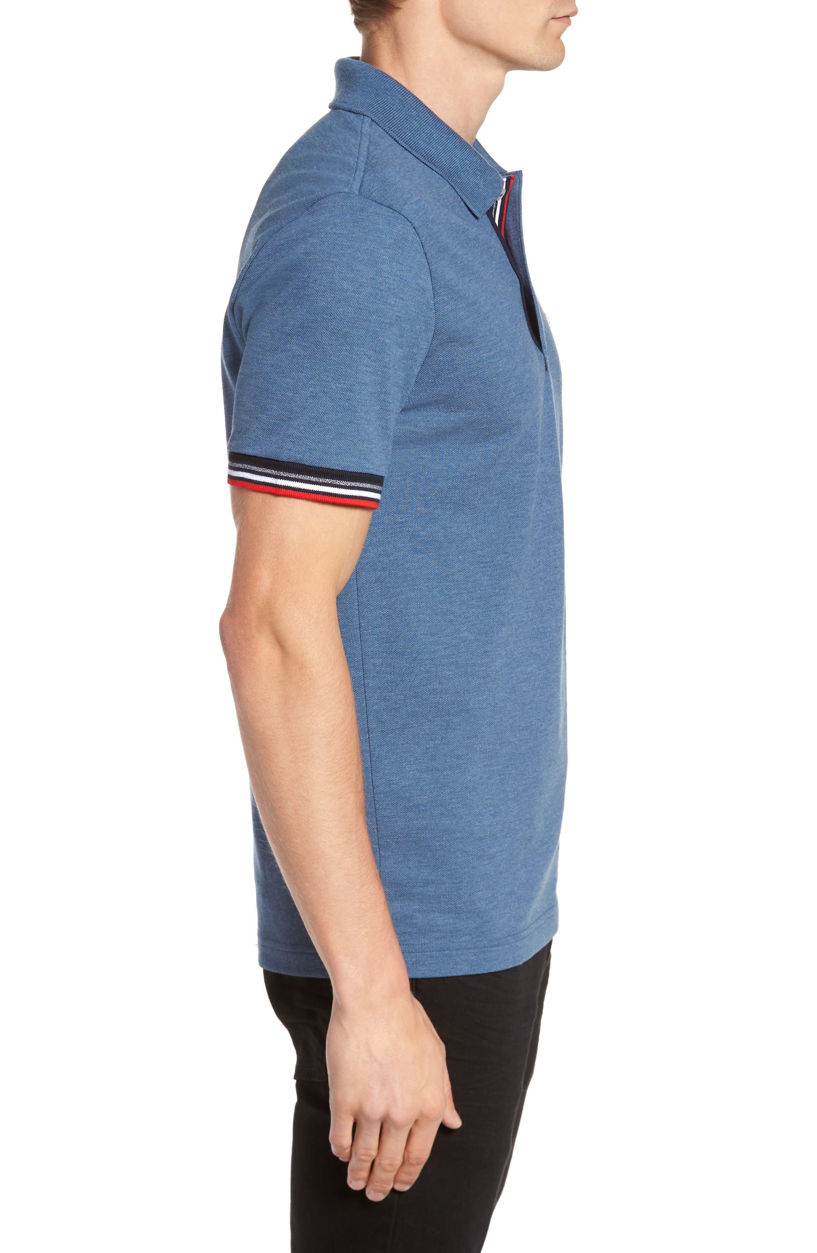 Slim Fit Piqué Polo,                             Alternate thumbnail 3, color,                             Denim Blue Jeans