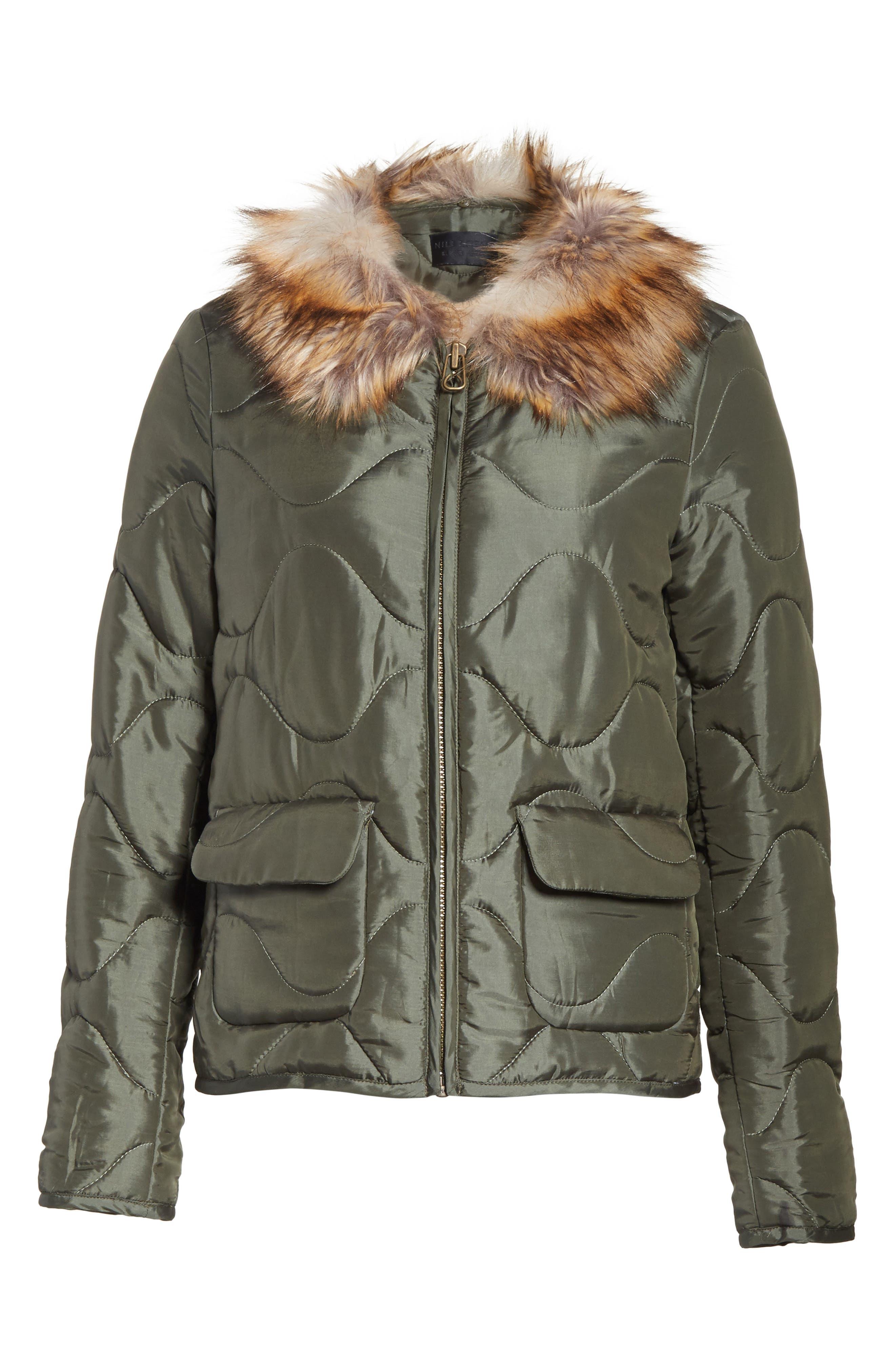 Alternate Image 7  - Nili Lotan Alvy Faux Fur Collar Quilted Coat