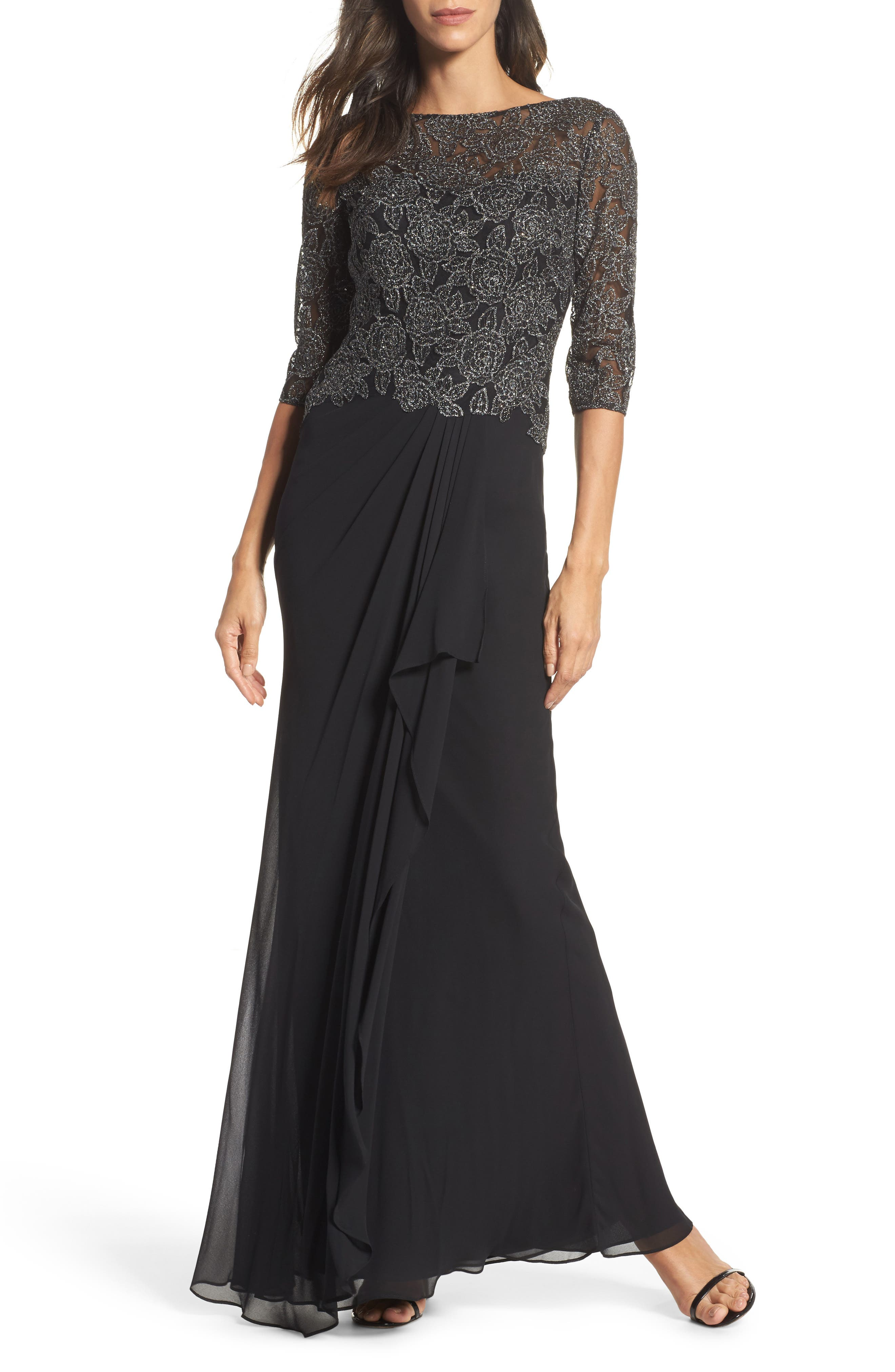 Metallic Embroidered A-Line Gown,                             Main thumbnail 1, color,                             Black