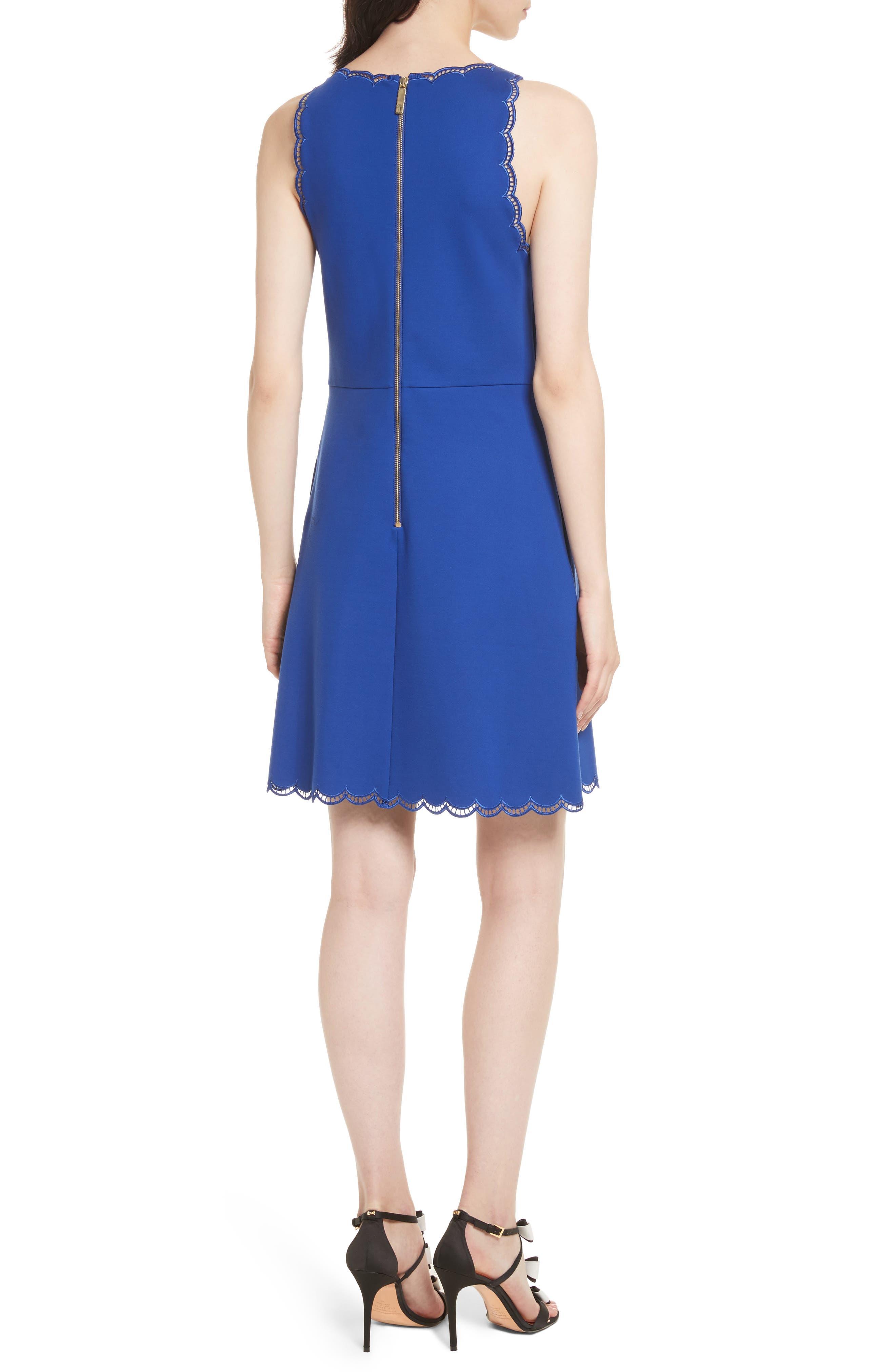 Codi Embroidered Scallop A-Line Dress,                             Alternate thumbnail 2, color,                             Mid Blue