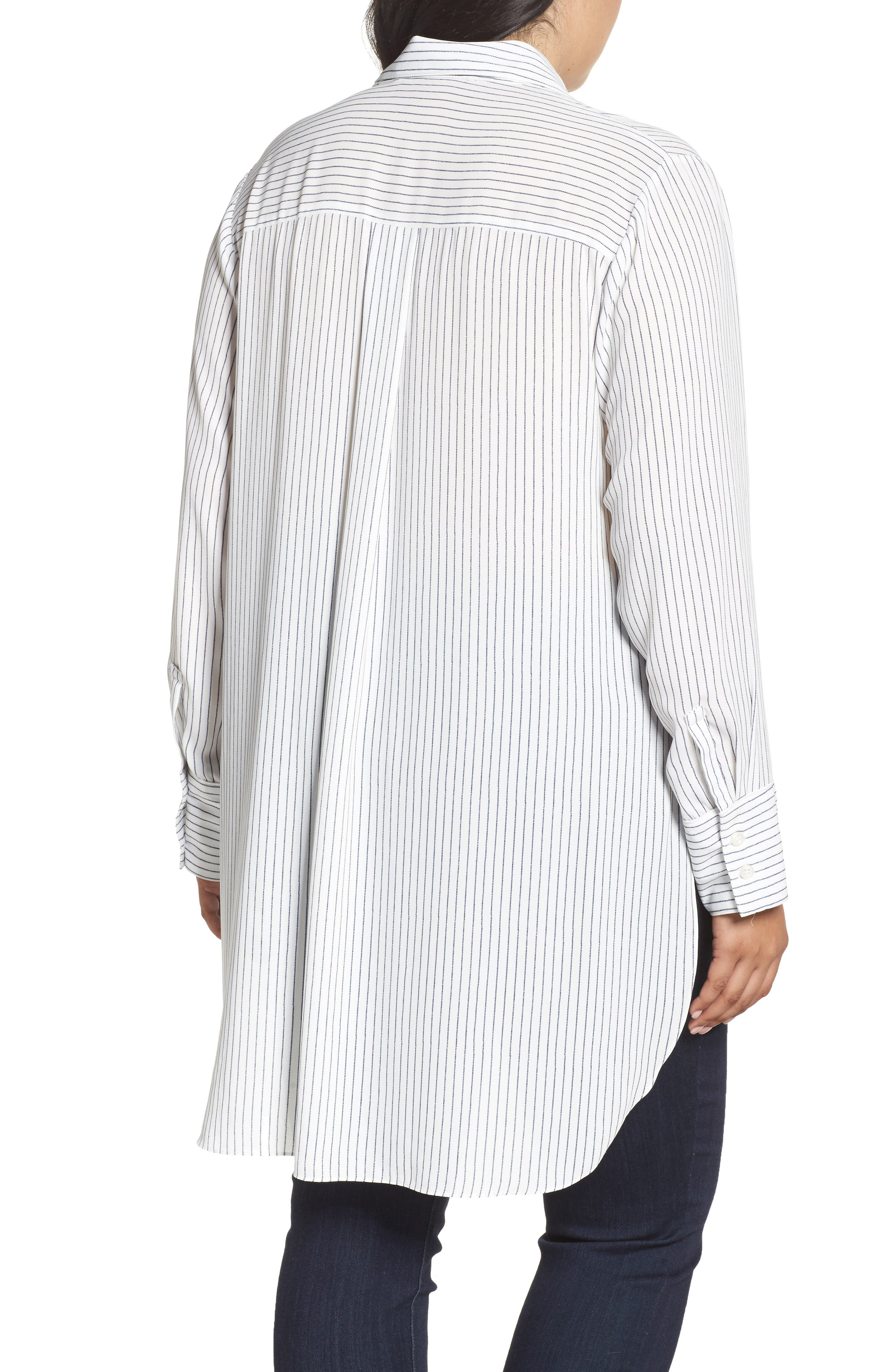Alternate Image 2  - RACHEL Rachel Roy High/Low Pinstripe Shirt (Plus Size)