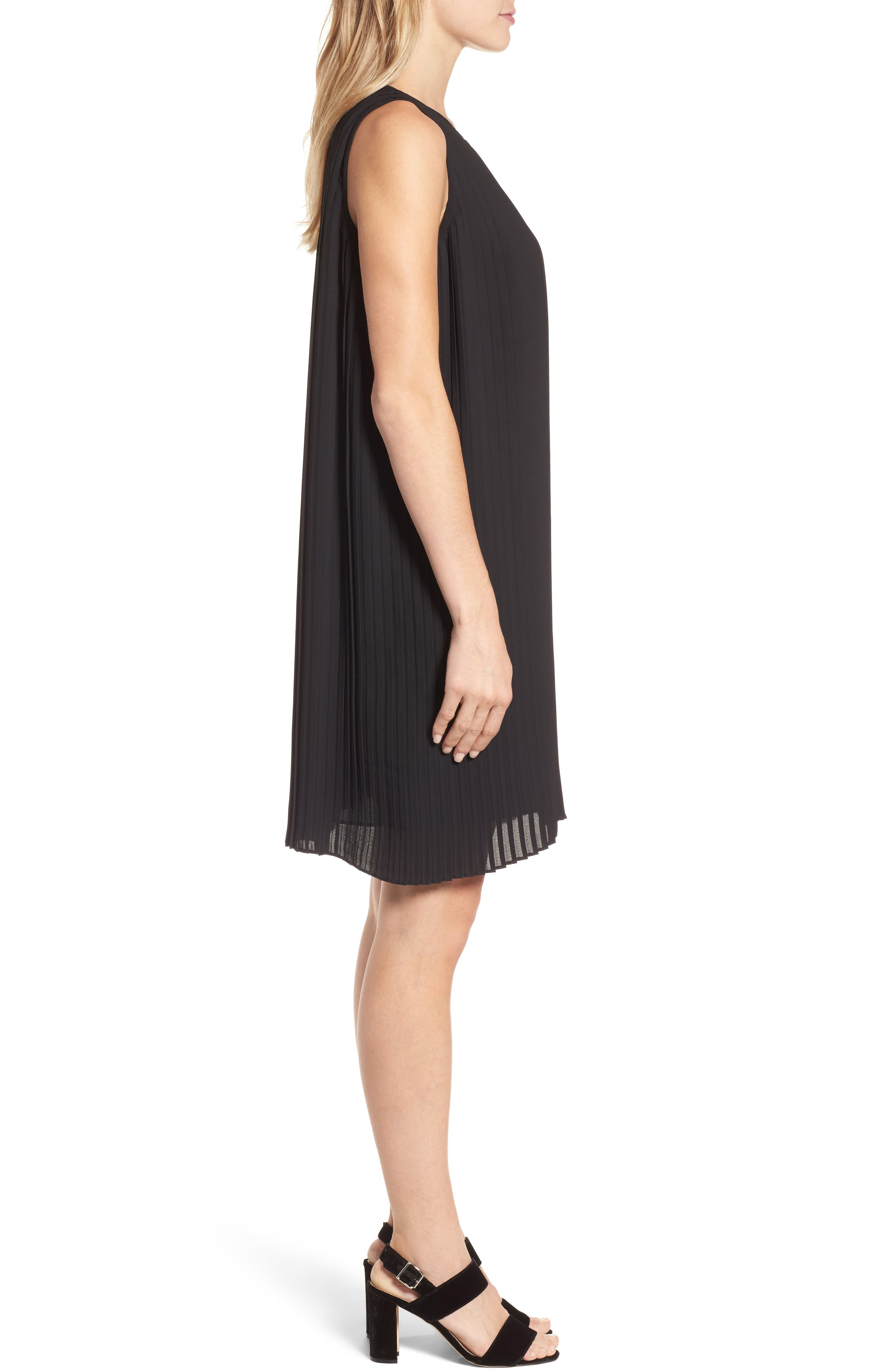 Pleated Shift Dress,                             Alternate thumbnail 3, color,                             Black