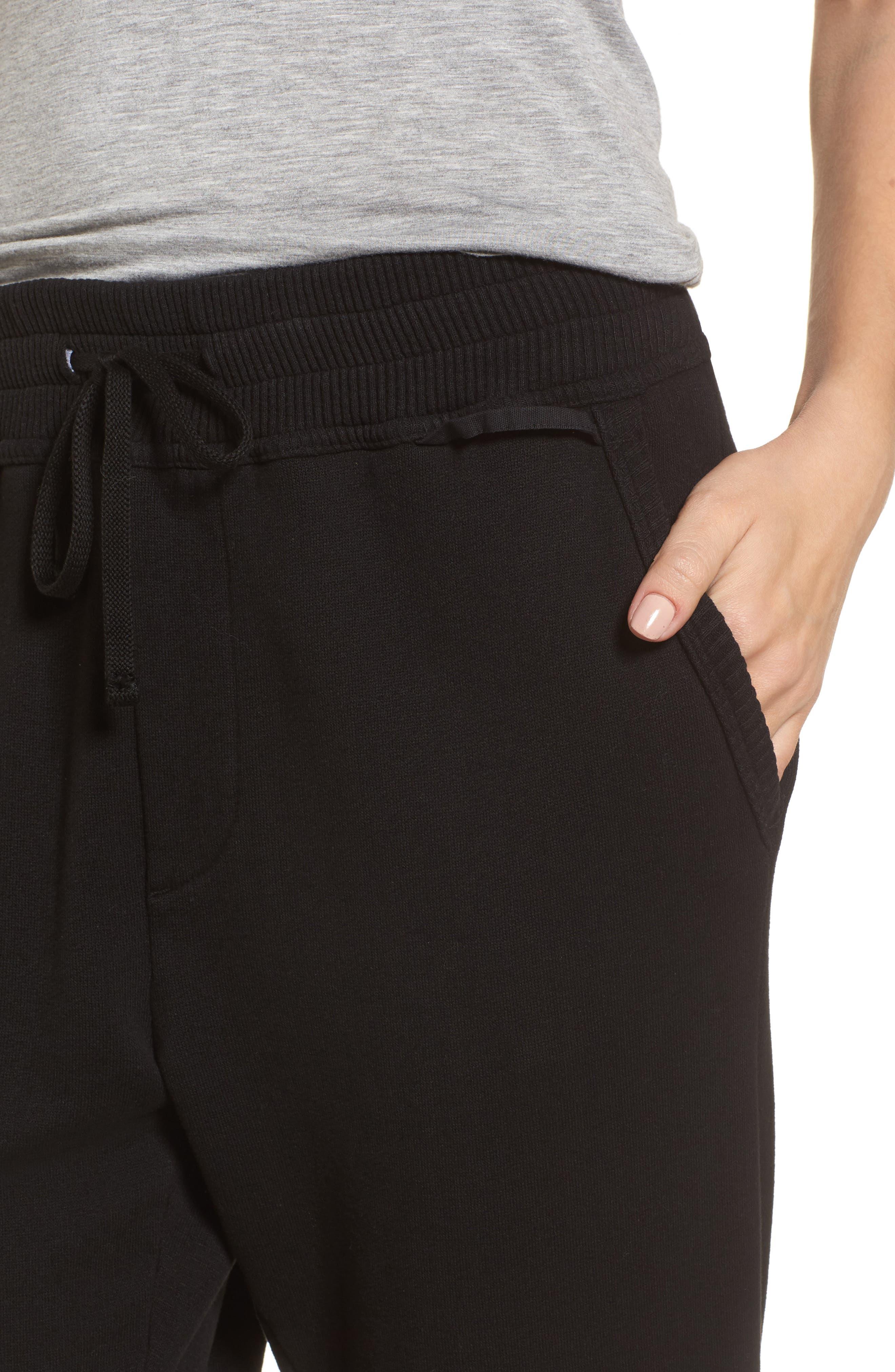 Terry Lounge Pants,                             Alternate thumbnail 4, color,                             Black