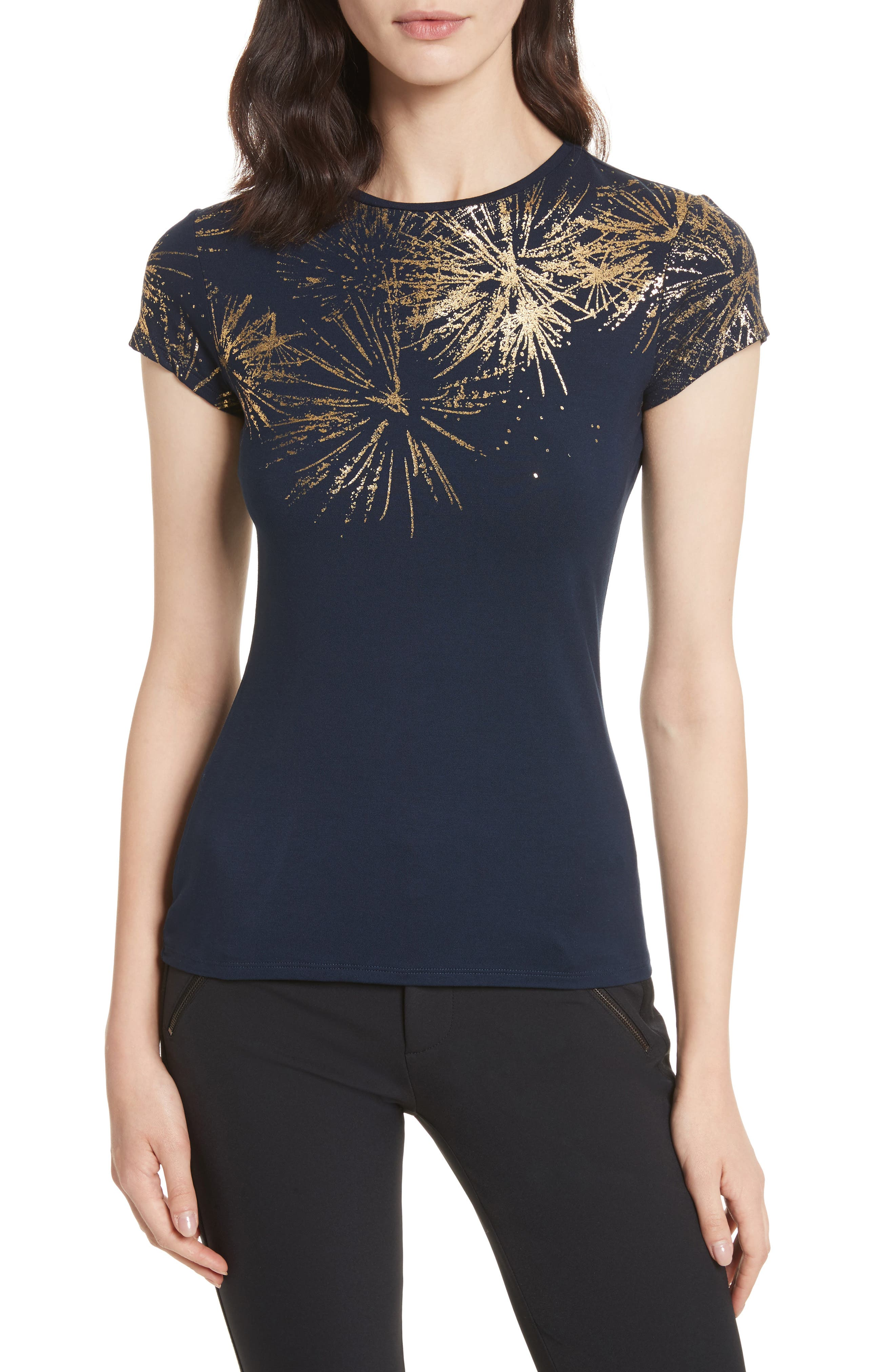 Amranth Stardust Fitted Tee,                         Main,                         color, Dark Blue