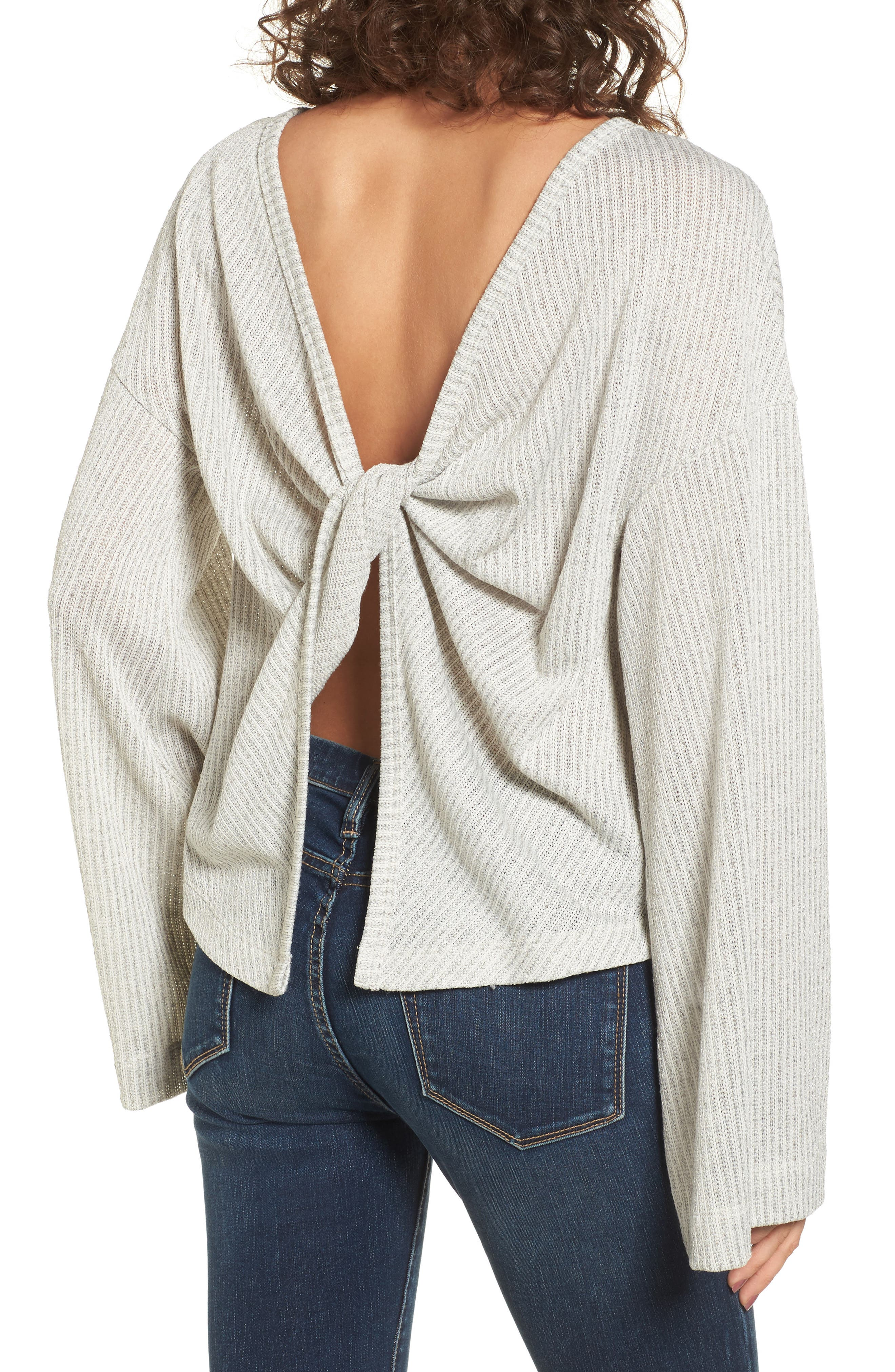Tie Back Sweater,                             Alternate thumbnail 2, color,                             Grey