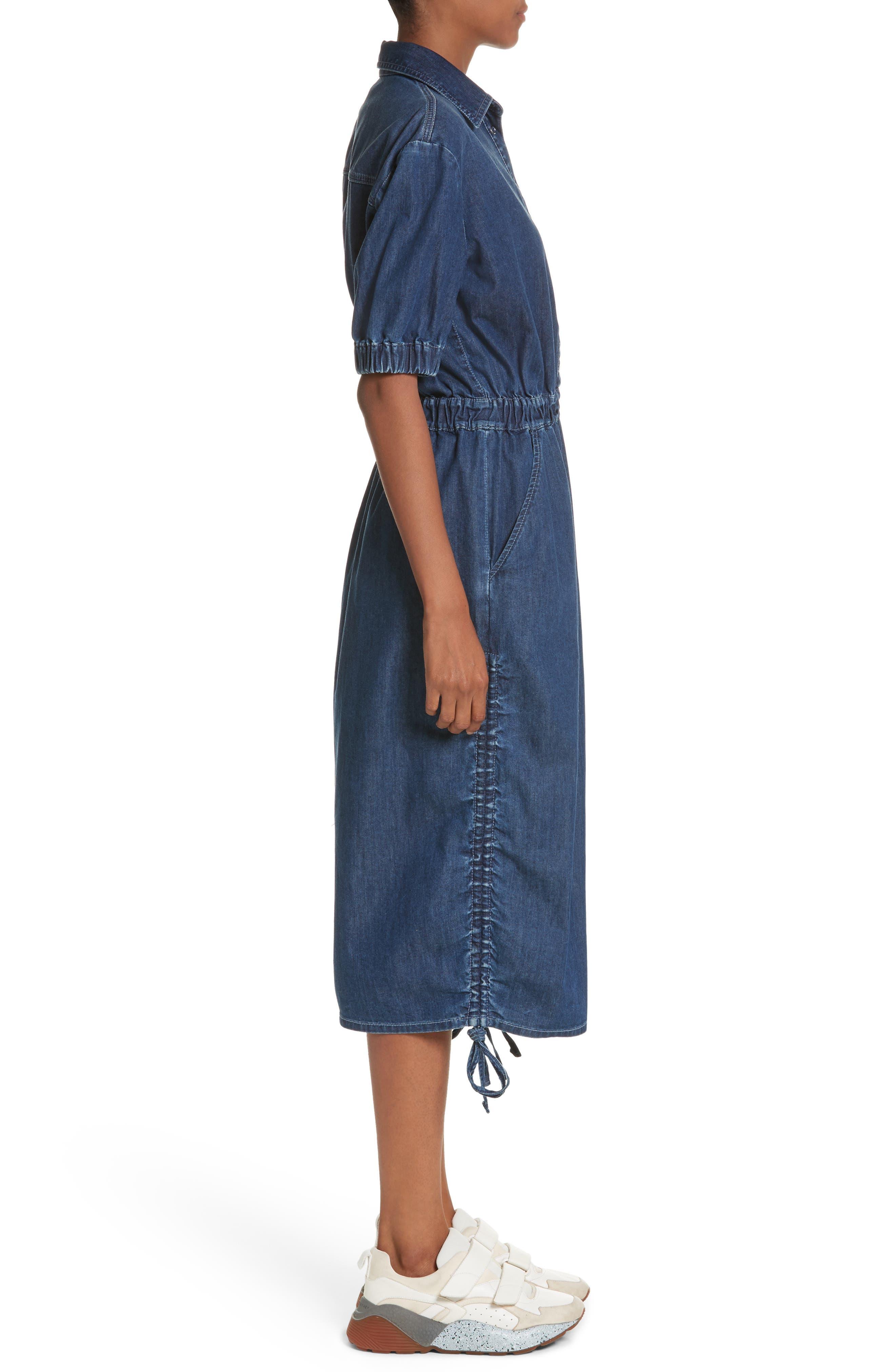 Ruched Denim Midi Dress,                             Alternate thumbnail 3, color,                             Dark Blue