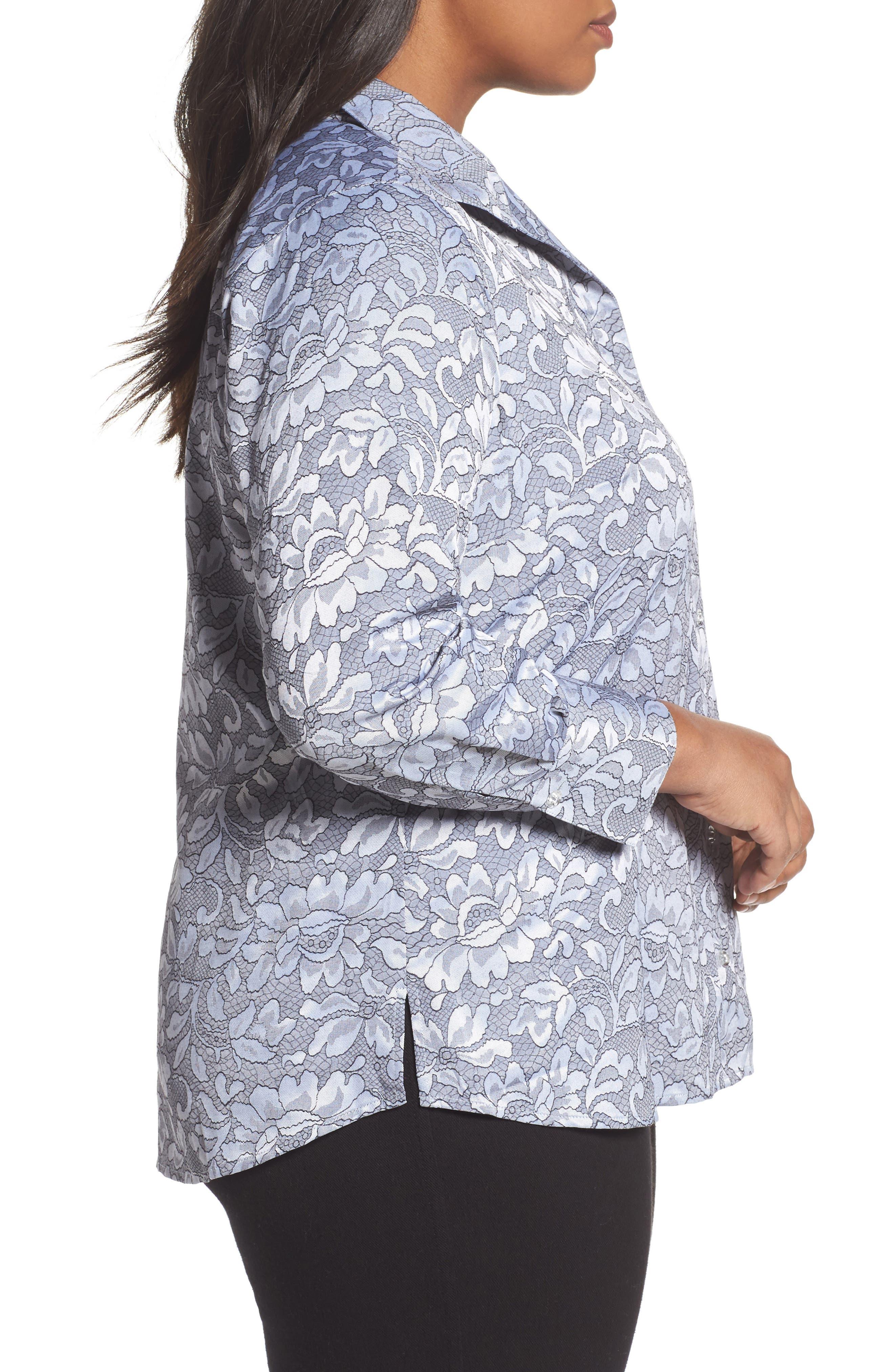 Rhonda Lace Jacquard Shirt,                             Alternate thumbnail 3, color,                             Slate