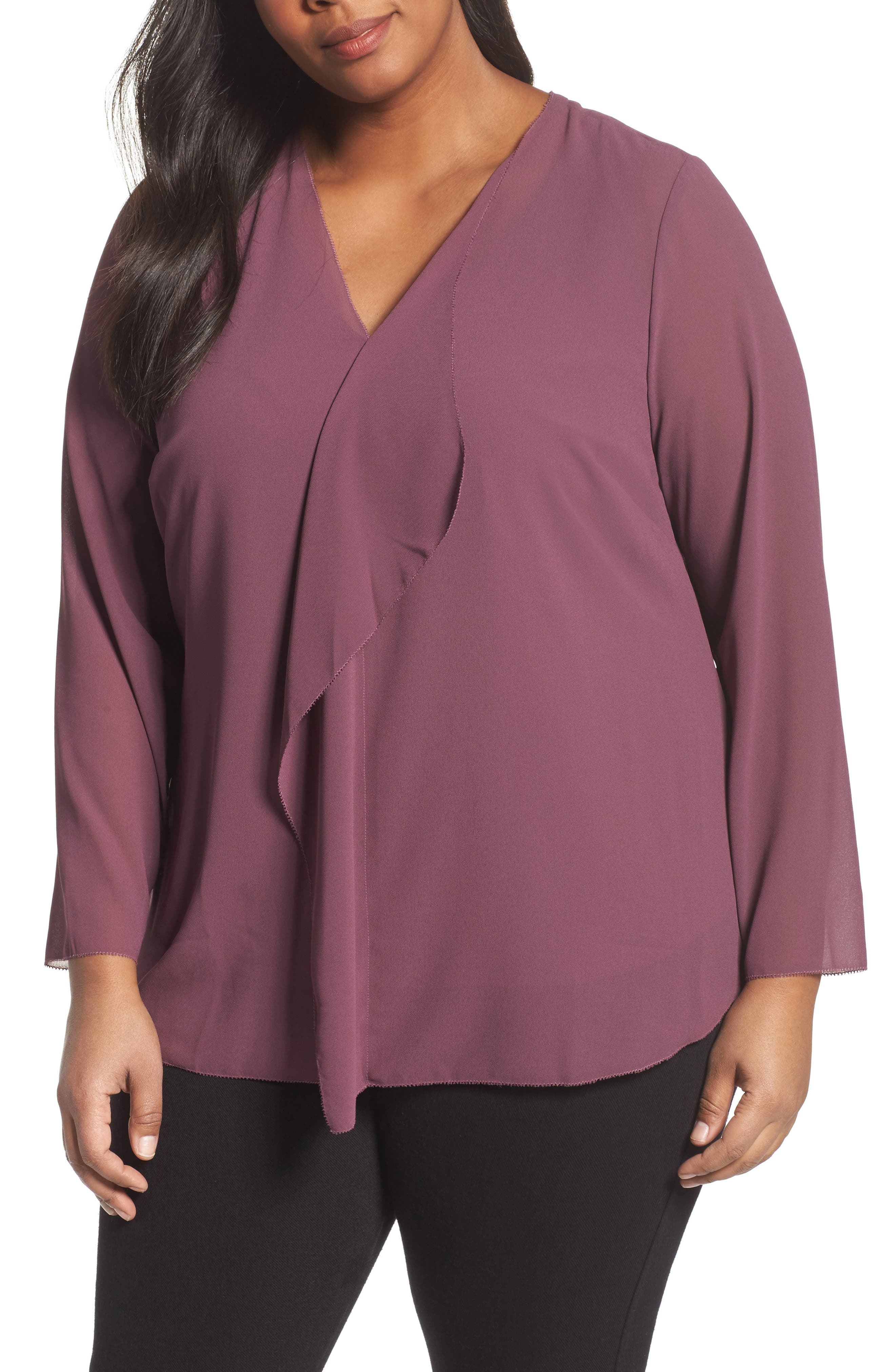 Alternate Image 1 Selected - Foxcroft Ashleigh Chiffon Top (Plus Size)
