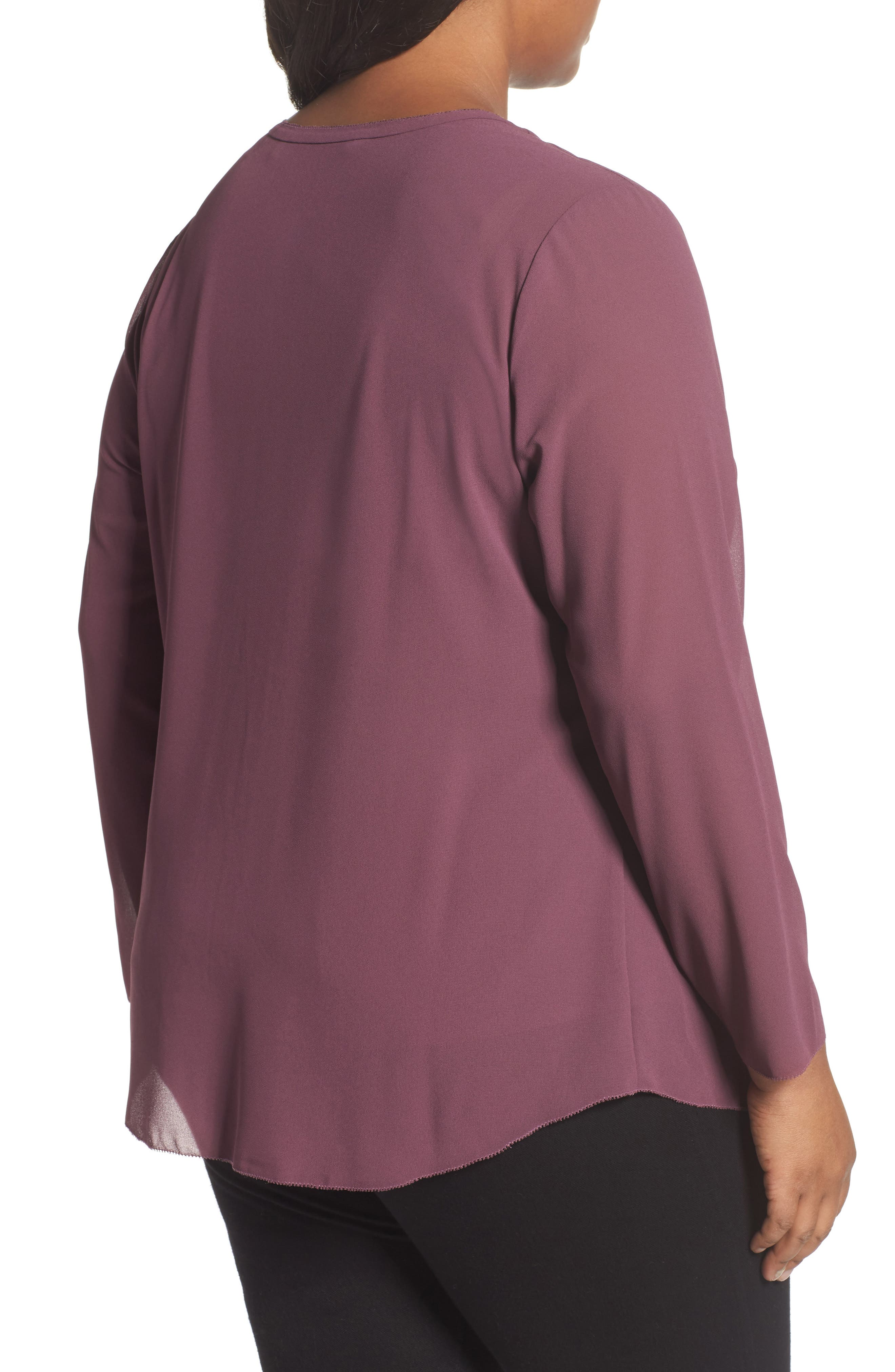 Alternate Image 2  - Foxcroft Ashleigh Chiffon Top (Plus Size)