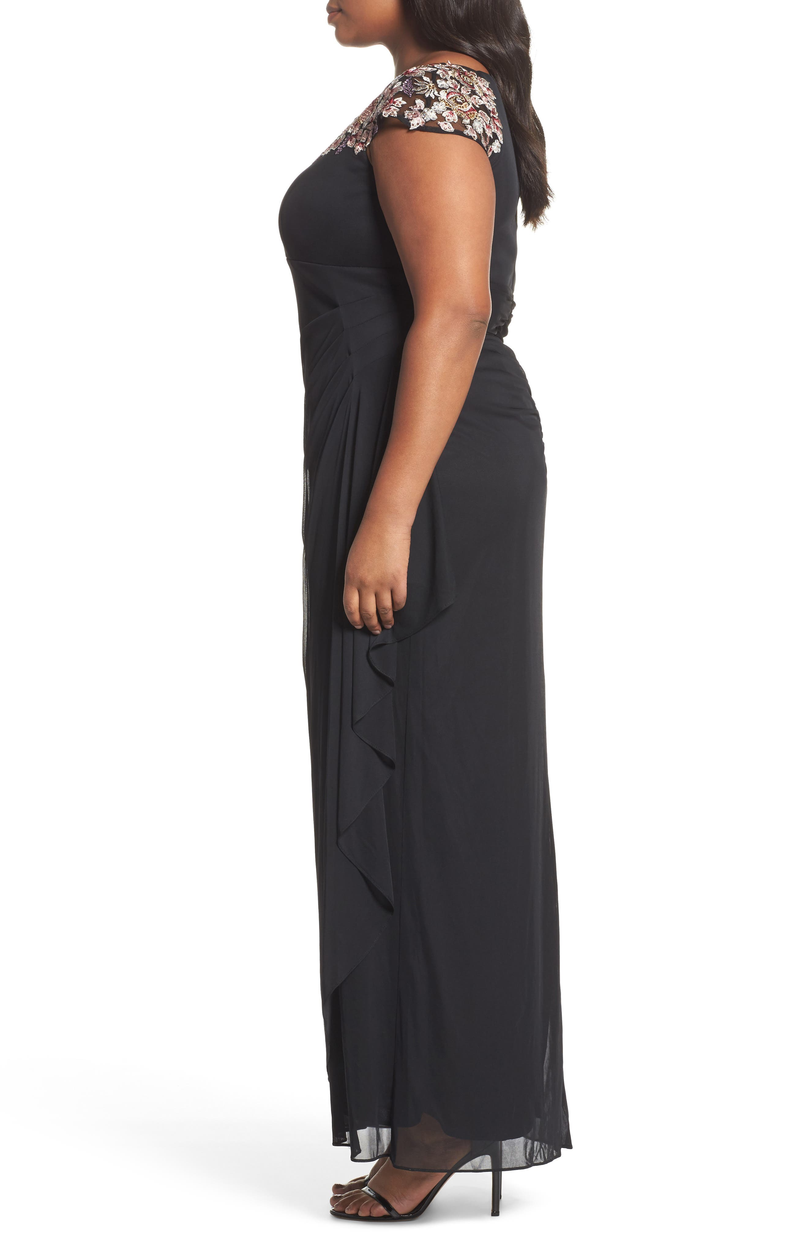 Embroidered Side Ruched Dress,                             Alternate thumbnail 3, color,                             Black/ Multi