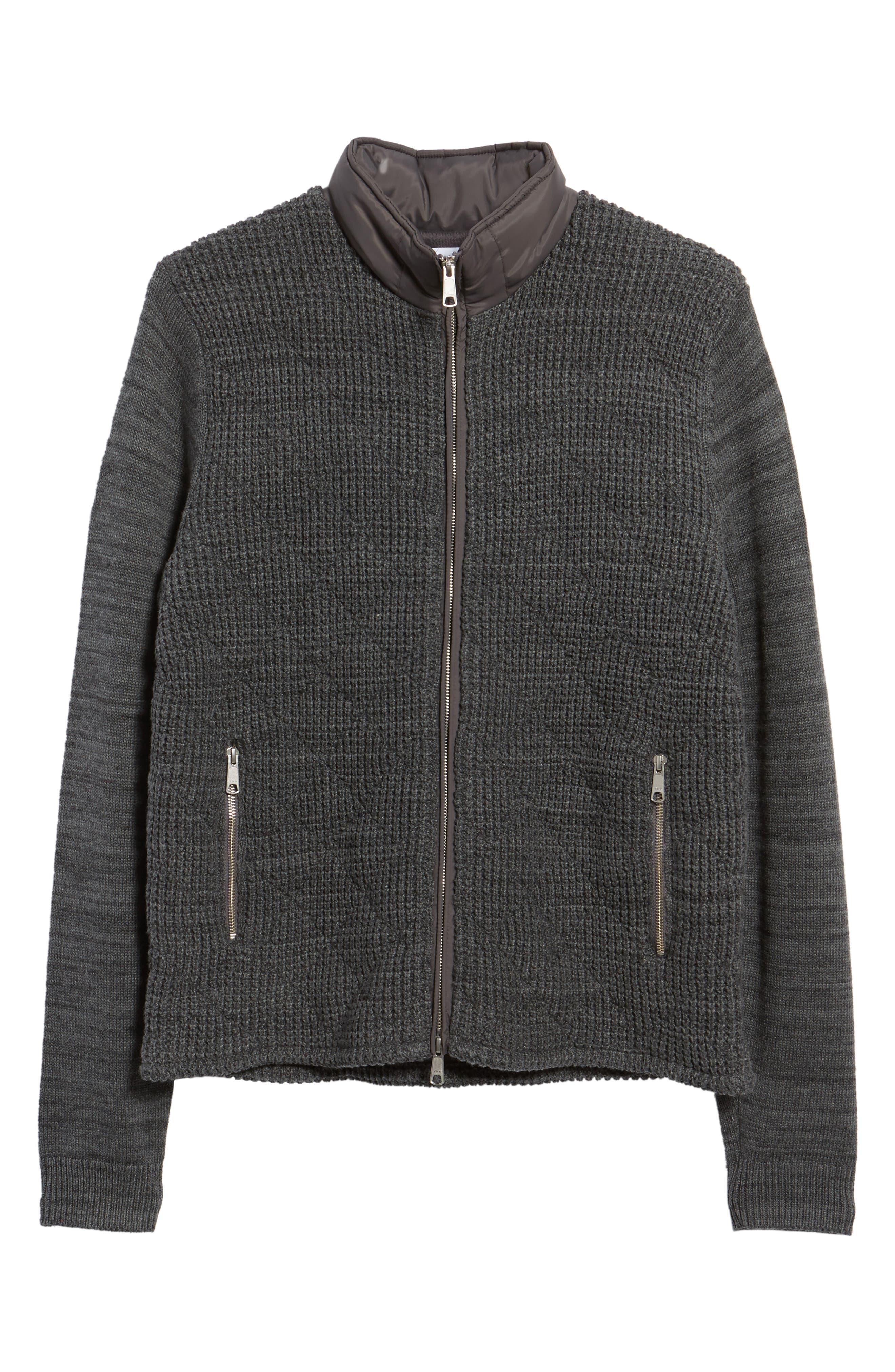 Mixed Media Full Zip Sweater,                             Alternate thumbnail 6, color,                             Grey Dark Charcoal Spacedye