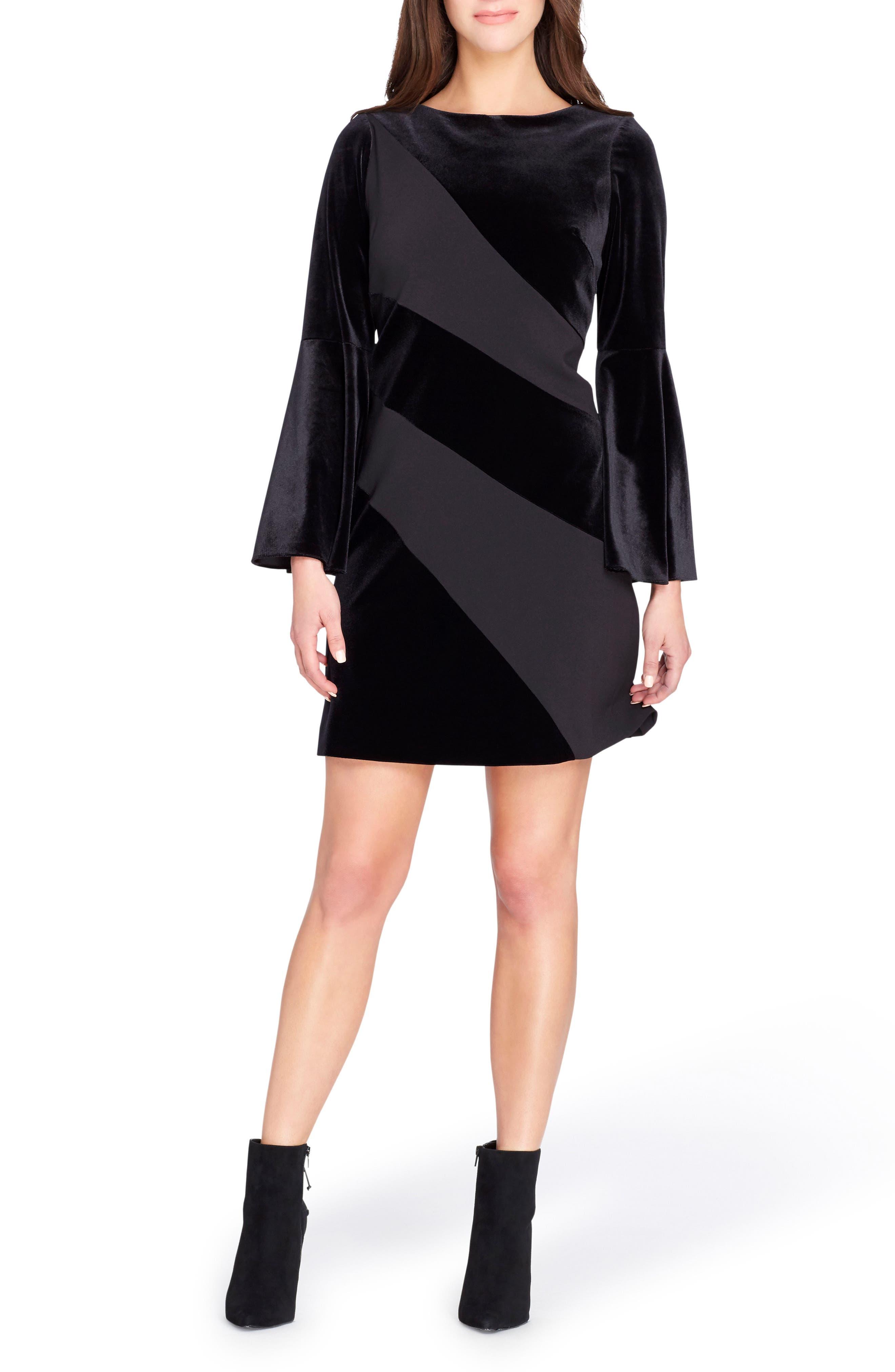 Velvet Bell Sleeve Shift Dress,                             Main thumbnail 1, color,                             Black