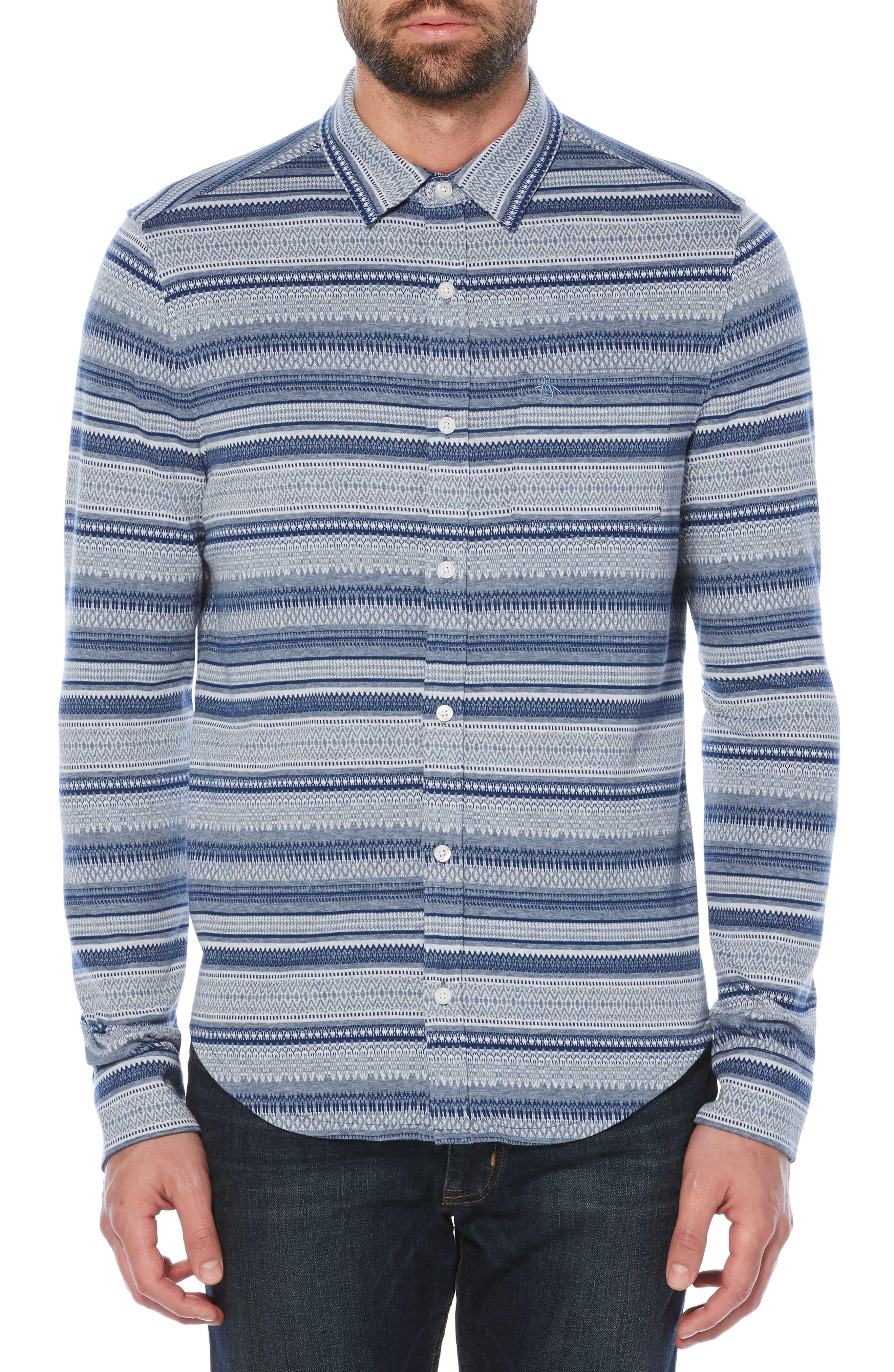 Fair Isle Knit Shirt,                         Main,                         color, China Blue