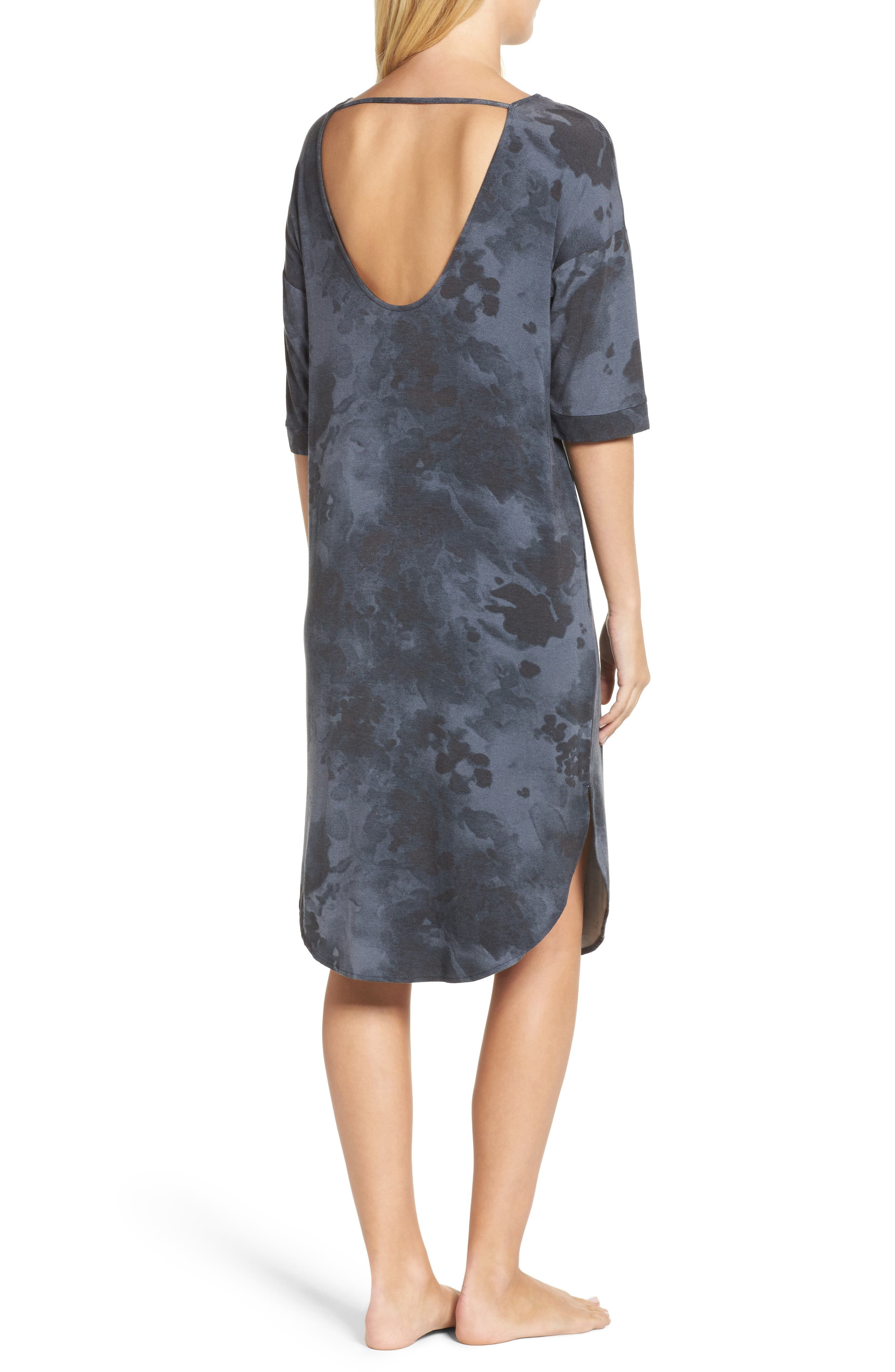 Jersey Sleep Shirt,                             Alternate thumbnail 2, color,                             Grey Floral
