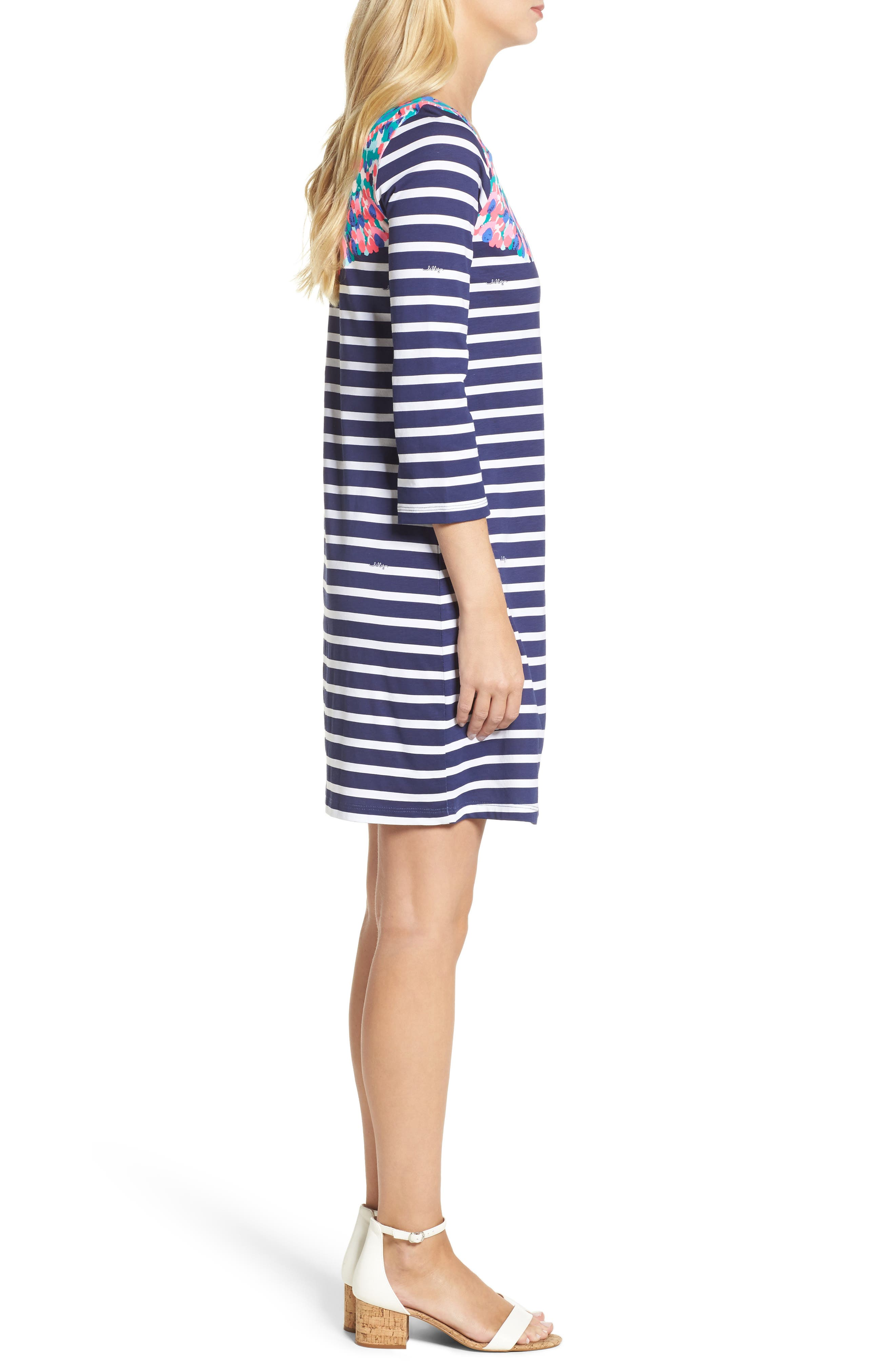 Bay Shift Dress,                             Alternate thumbnail 3, color,                             Bright Navy Island Medallion