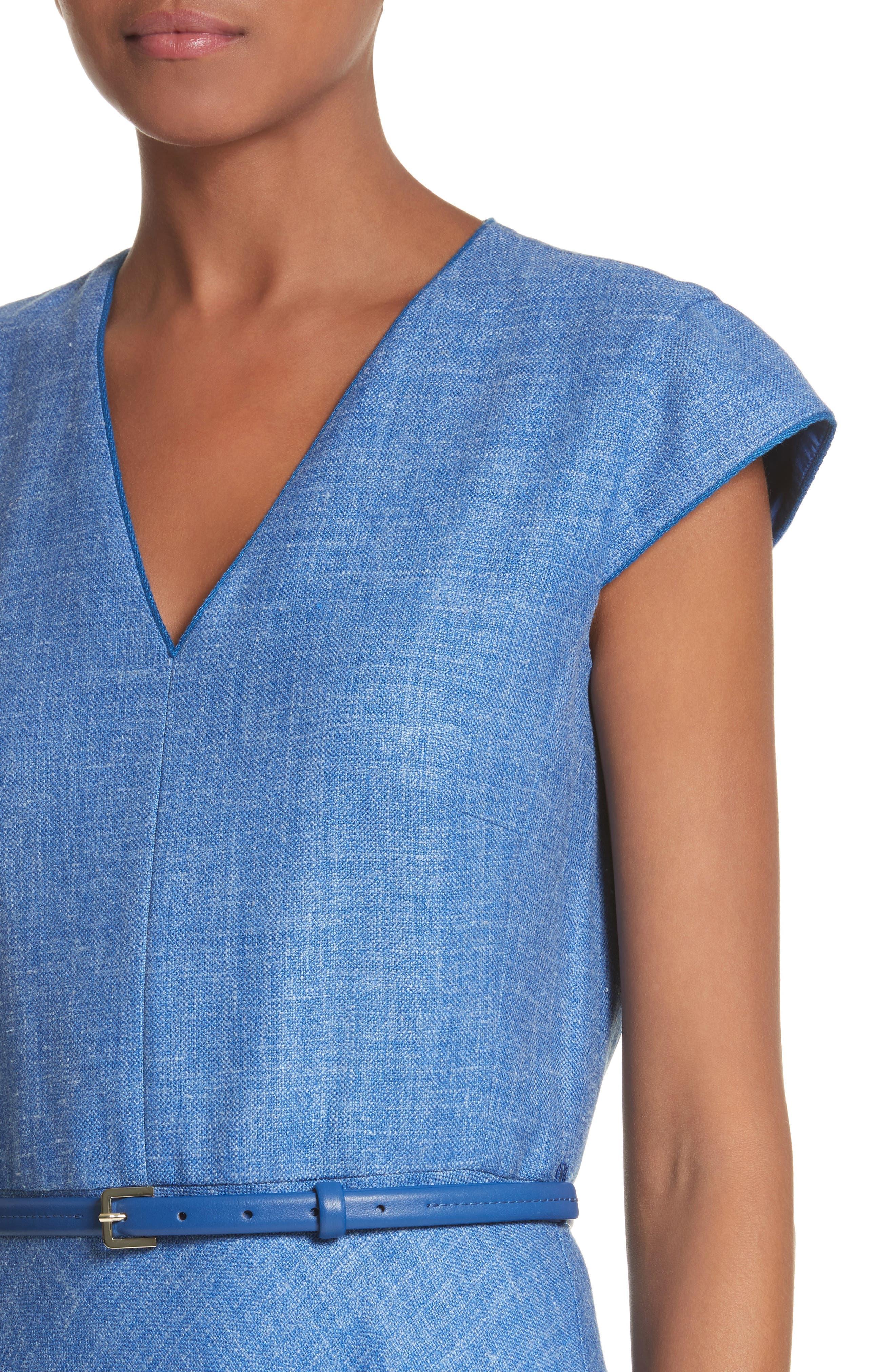 Caramba Silk, Linen & Wool Midi Dress,                             Alternate thumbnail 4, color,                             Cornflower Blue