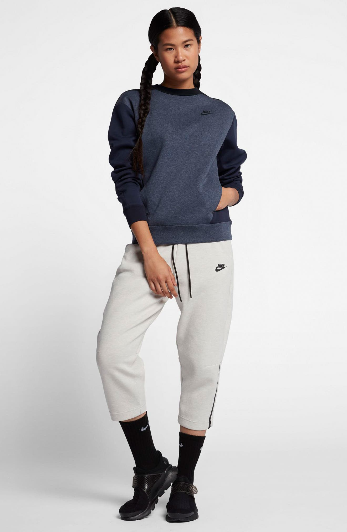 Sportswear Women's Tech Fleece Crew,                             Alternate thumbnail 2, color,                             Obsidian/ Black/ Black