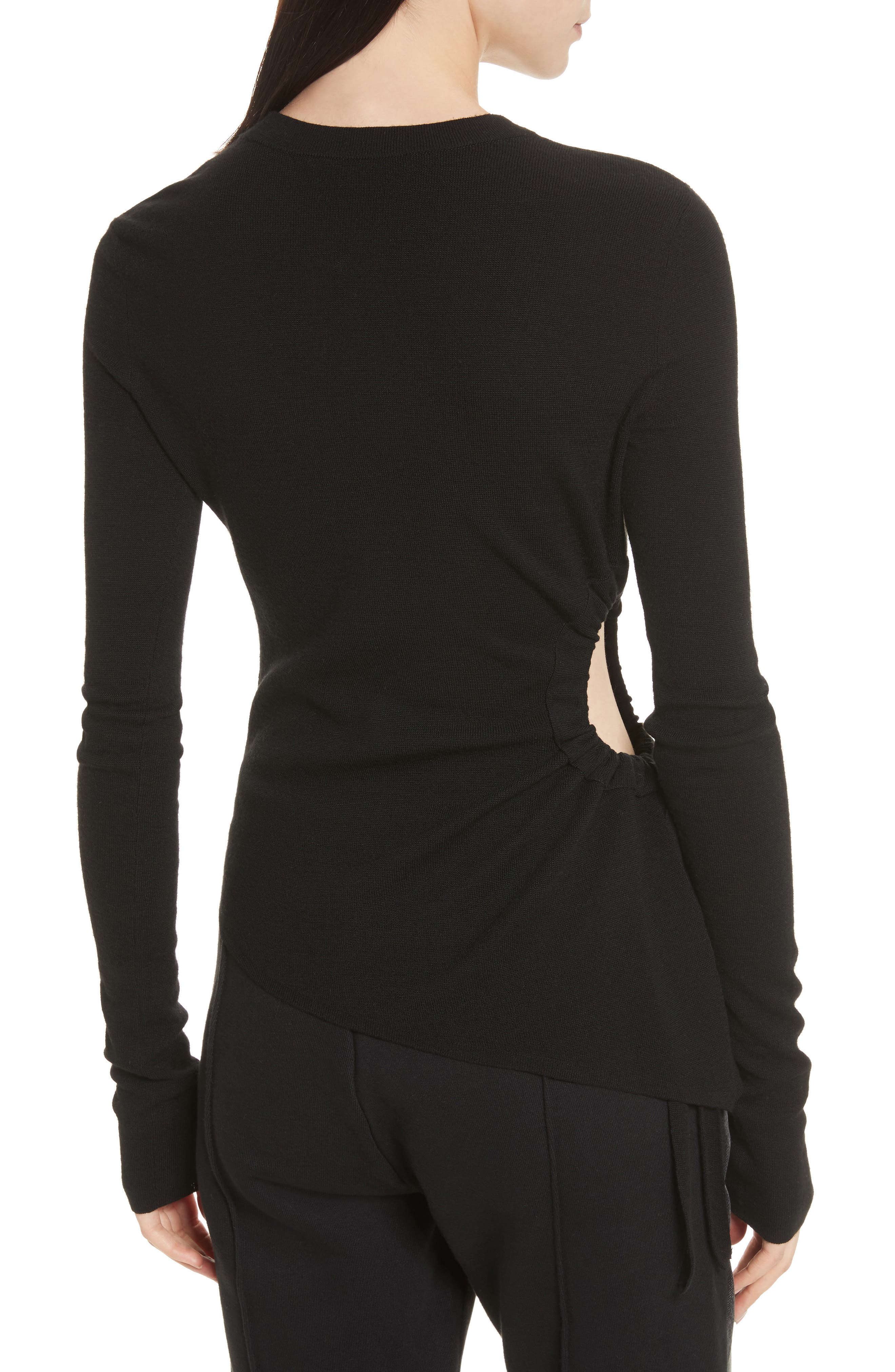 T by Alexander Side Cutout Ruched Merino Wool Sweater,                             Alternate thumbnail 2, color,                             Black