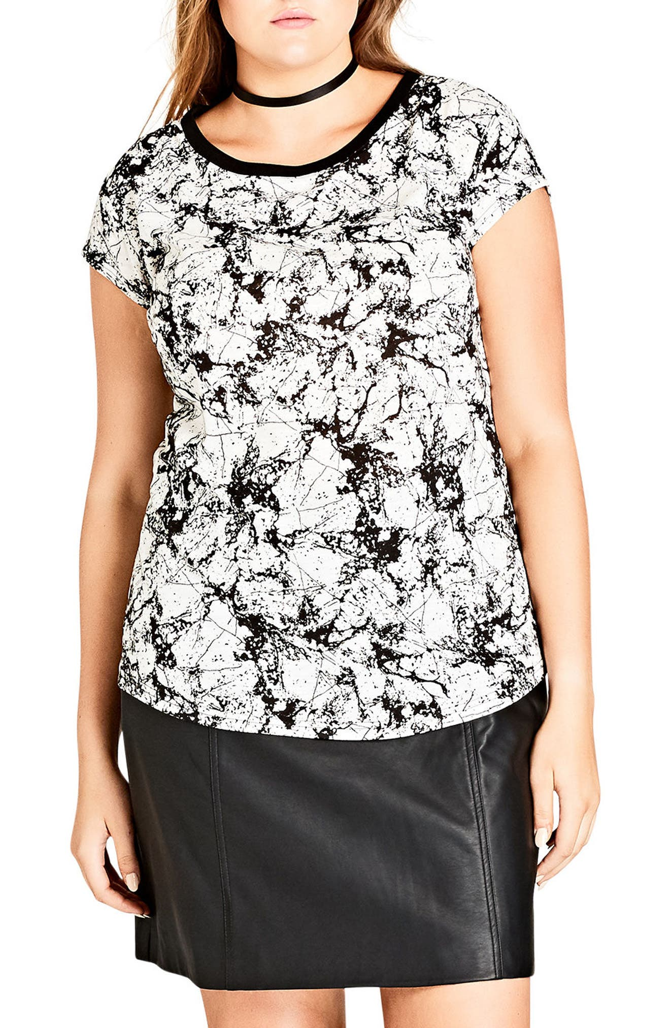 Alternate Image 1 Selected - City Chic Marble Tee (Plus Size)