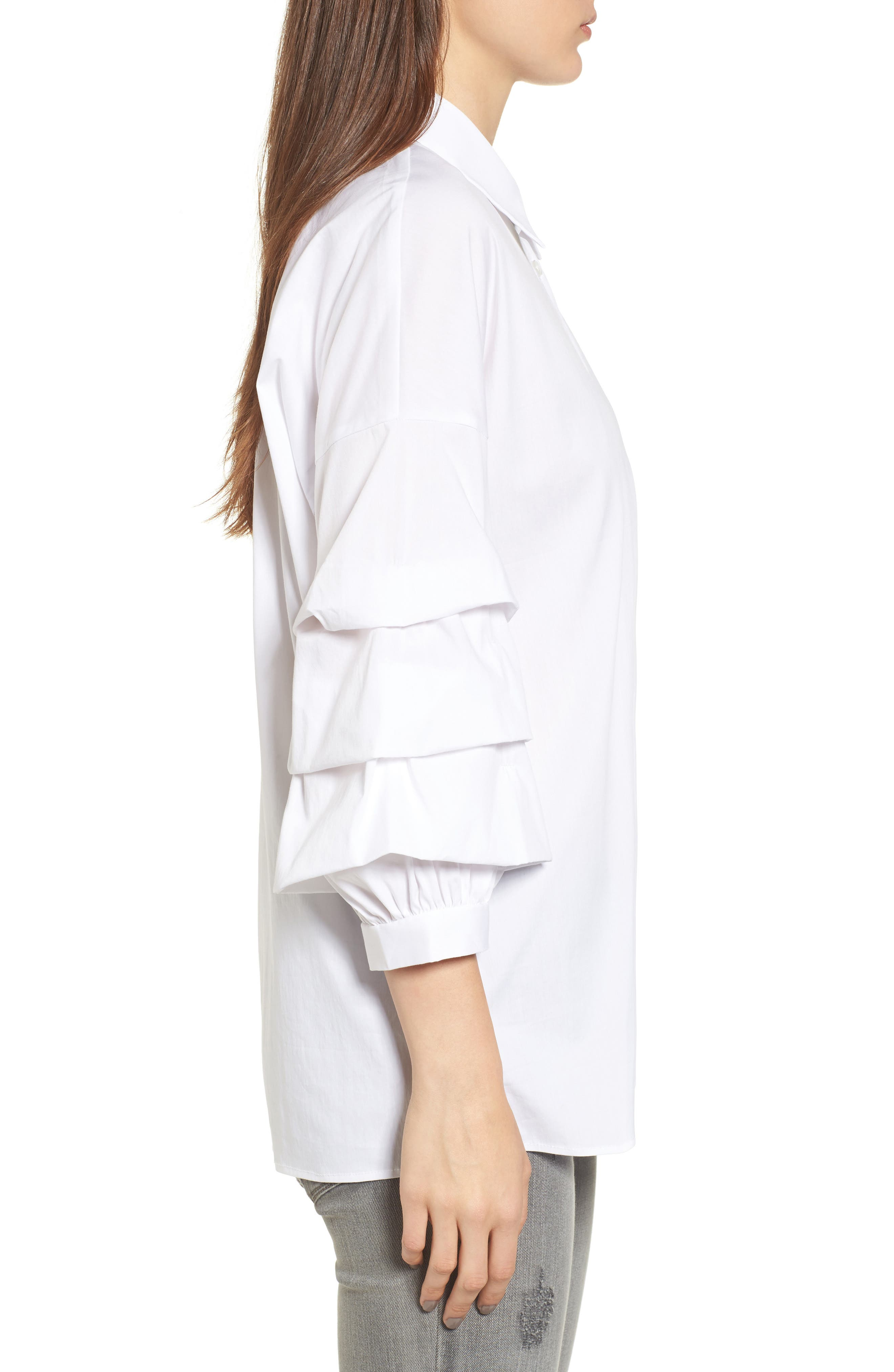 Ruched Sleeve Shirt,                             Alternate thumbnail 3, color,                             White