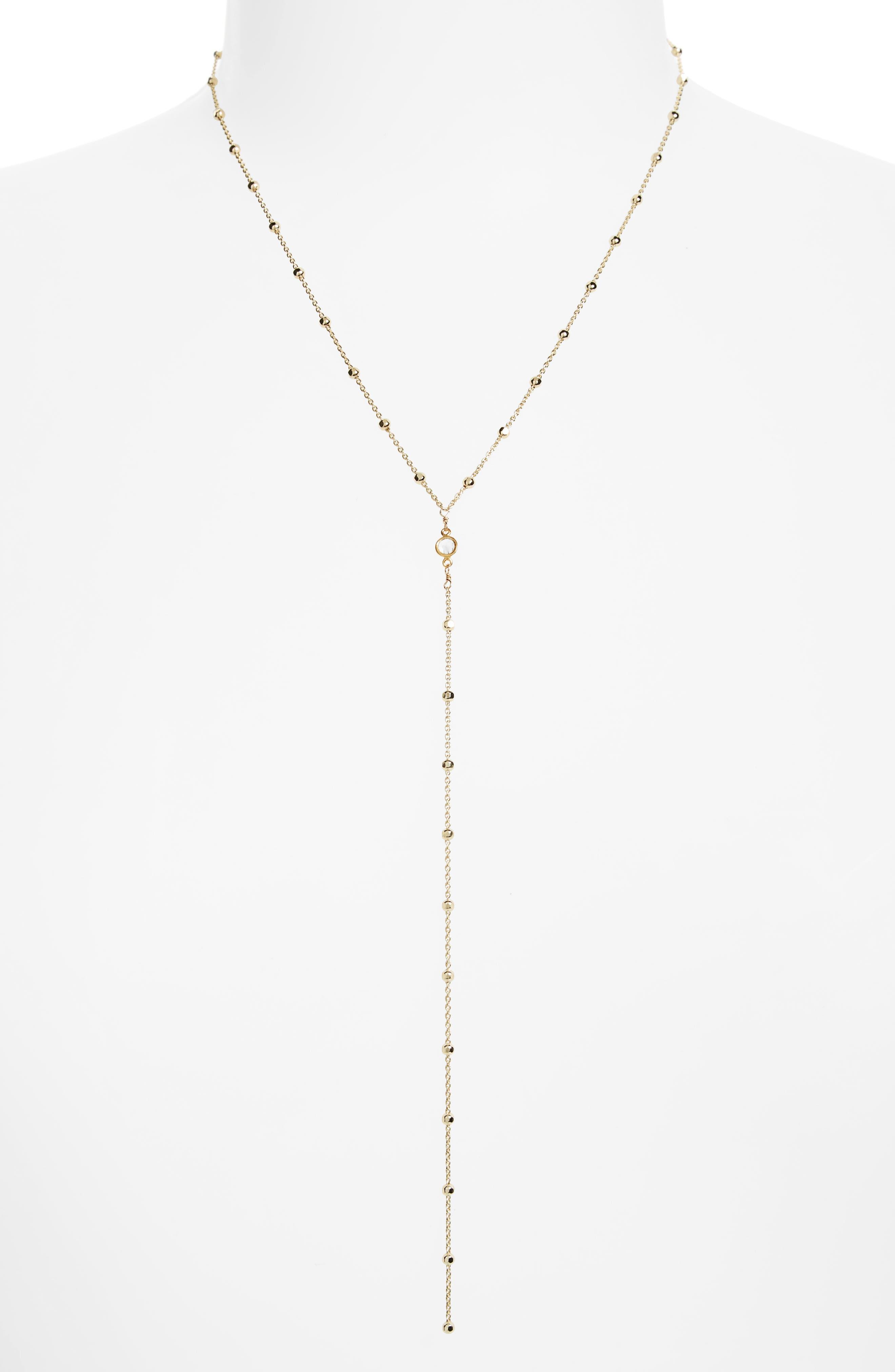 Crystal Y-Necklace,                         Main,                         color, Gold