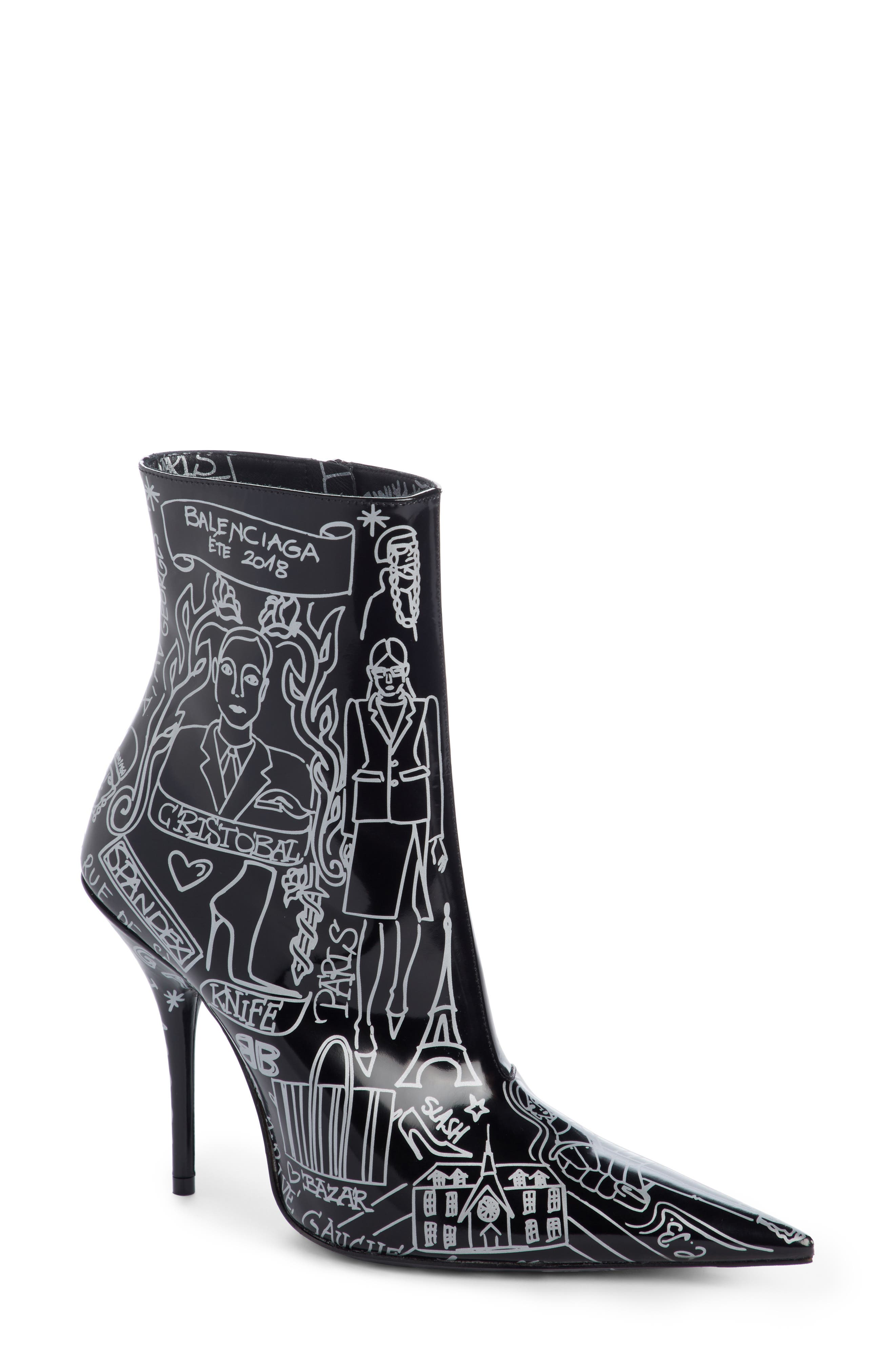 Print Pointy Toe Bootie,                             Main thumbnail 1, color,                             Black/ Silver