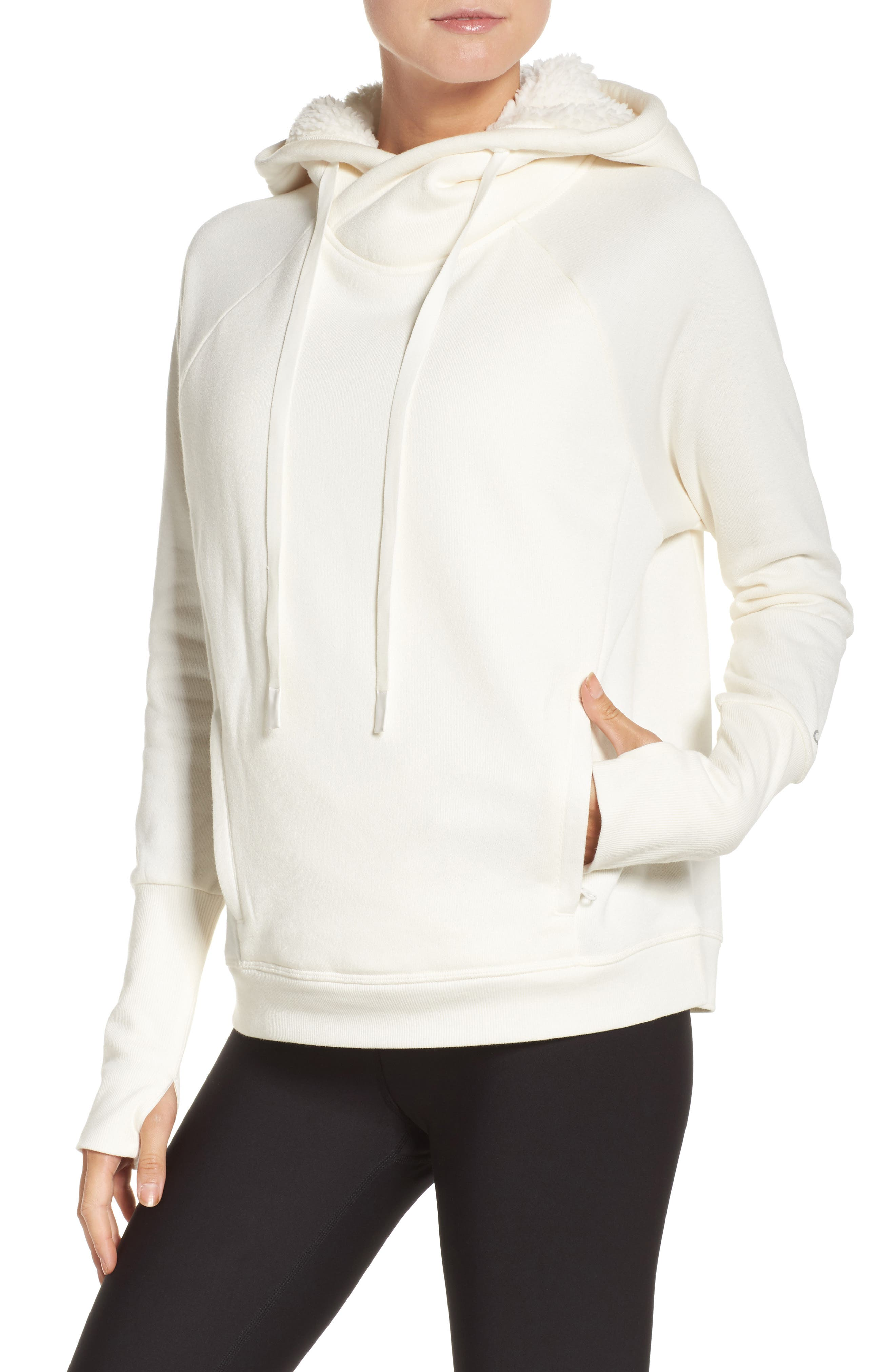 Frost Faux Shearling Lined Hoodie,                         Main,                         color, Pristine